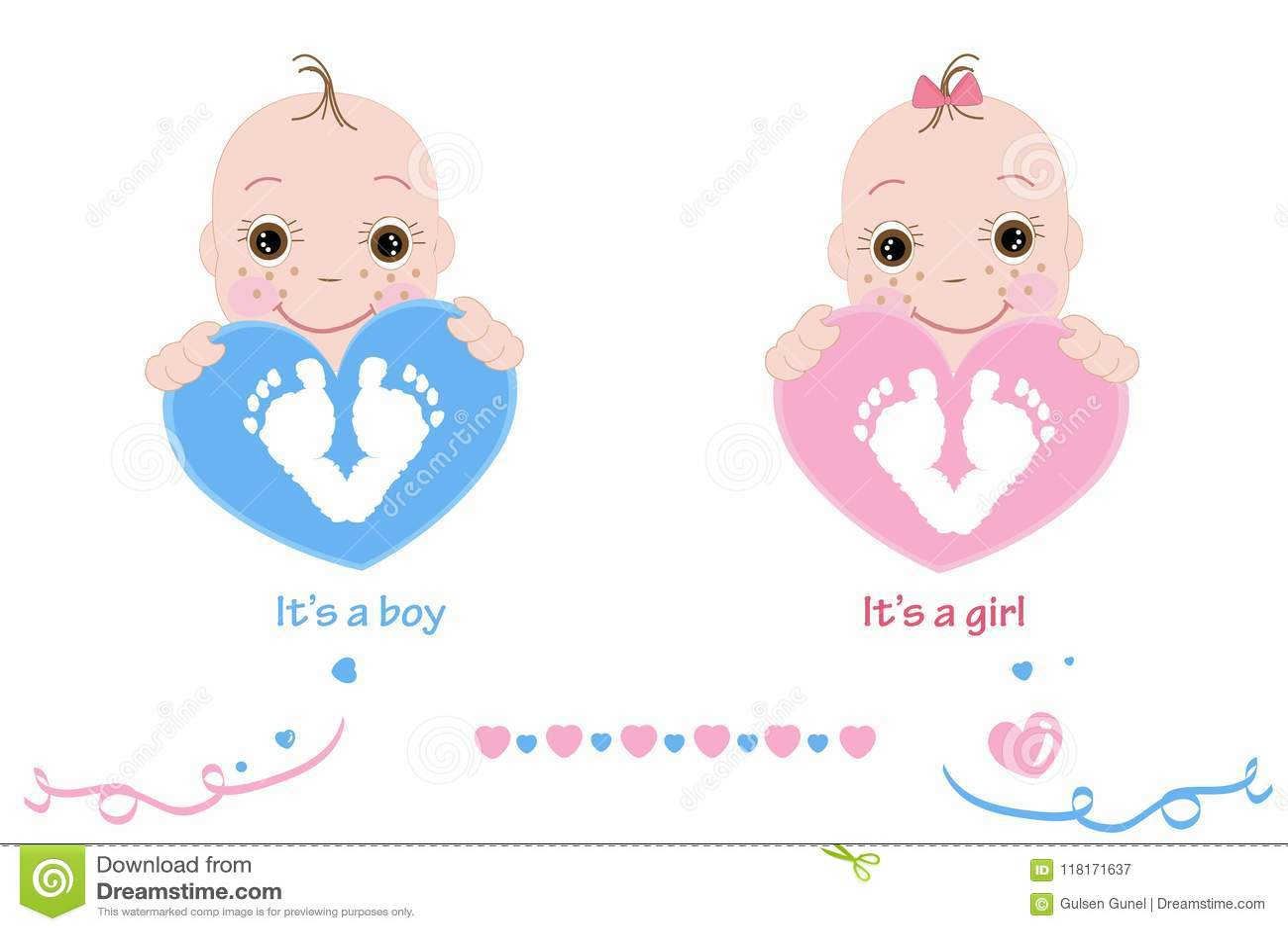 Двойные ребёнок и мальчик Ноги младенца и печать руки Пинк карточки прибытия младенца, синь покрасил сердца
