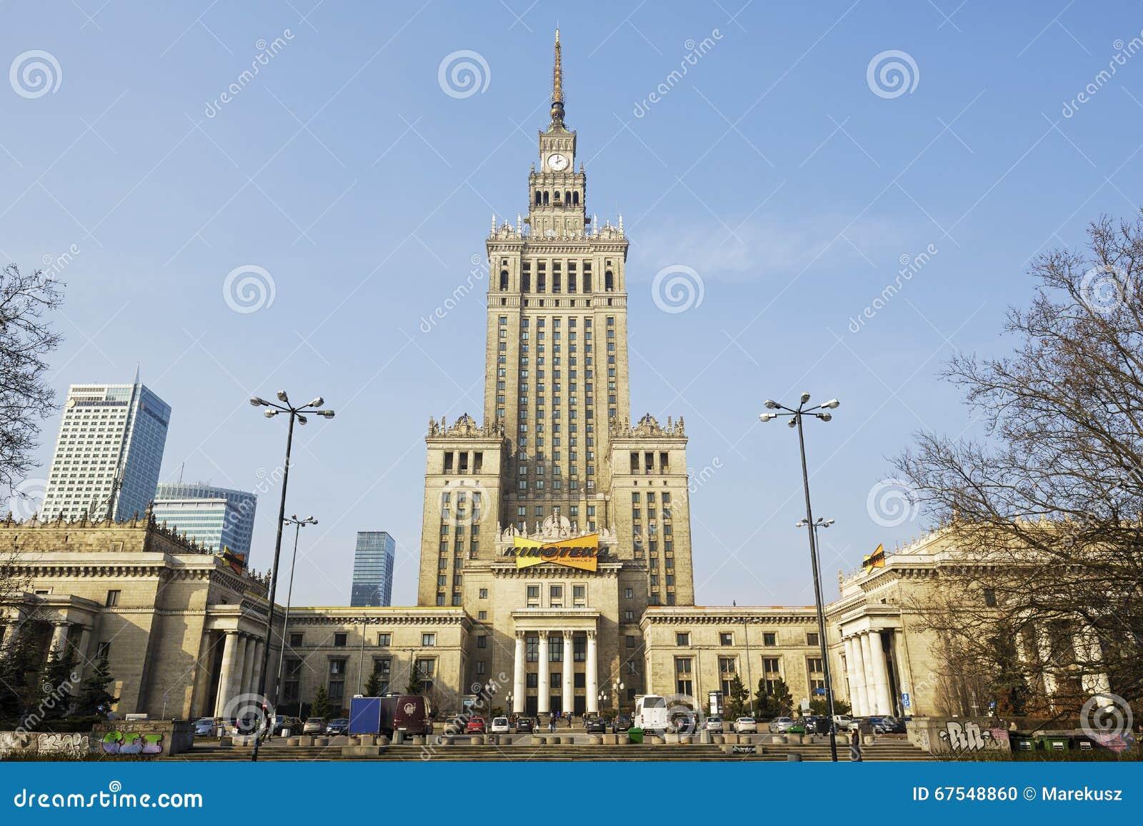 Dvorec Kultury I Nauki V Varshave V Polshe Redakcionnoe Izobrazhenie