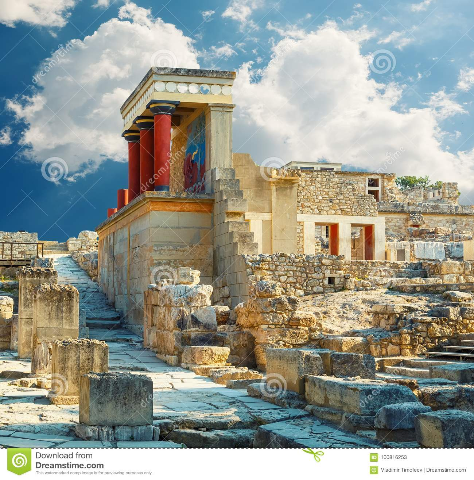 Дворец Knossos на Крите Руины дворца Knossos Крит Греция heraklion Деталь старых руин известного дворца Minoan