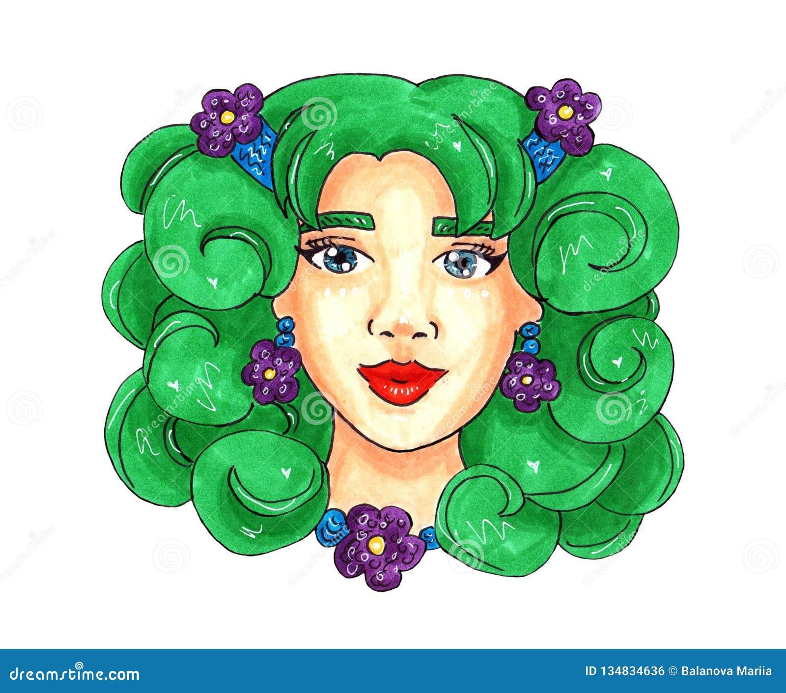 Девушка весны с зелеными волосами и пурпурными цветками иллюстрация для открытки или печати