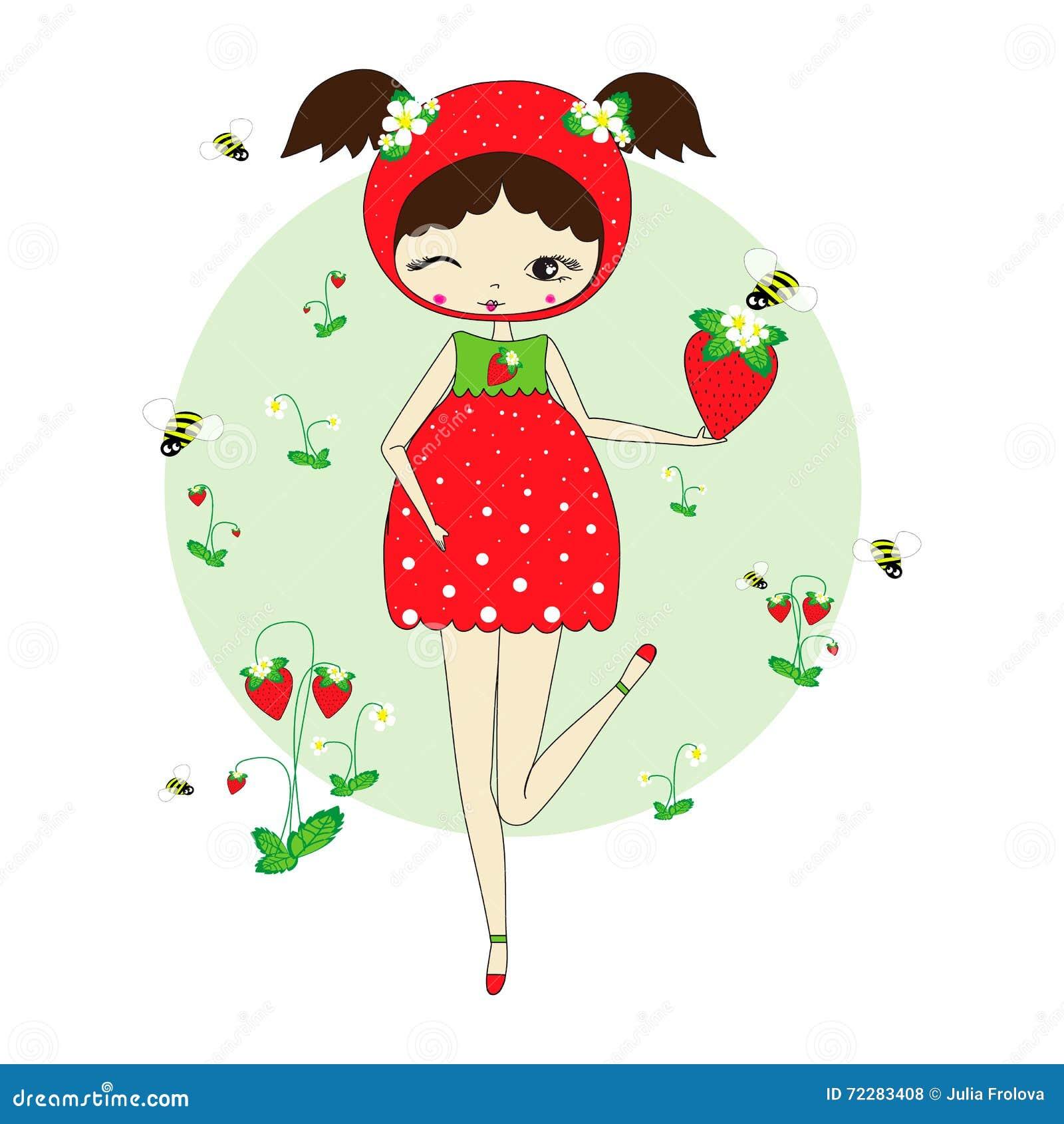Download Девушка в костюме клубники иллюстрация вектора. иллюстрации насчитывающей характер - 72283408
