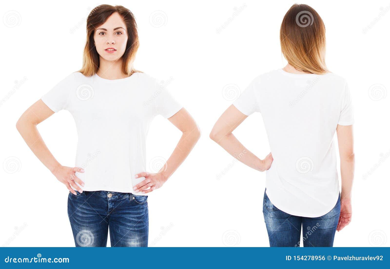 Девушка в наборе футболки на белой изолированной предпосылке, футболке лета, пустой