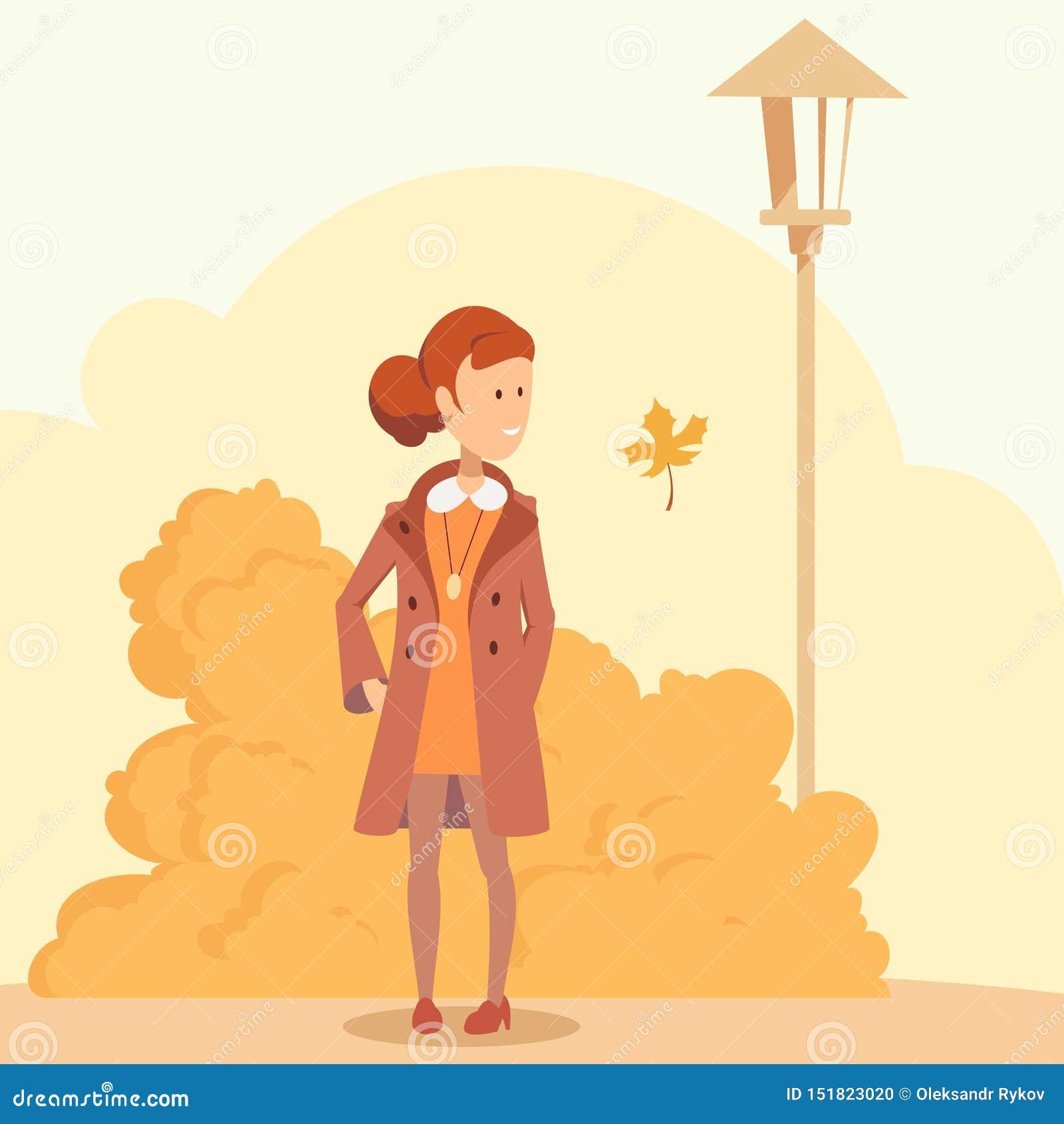 Девушка в парке осени