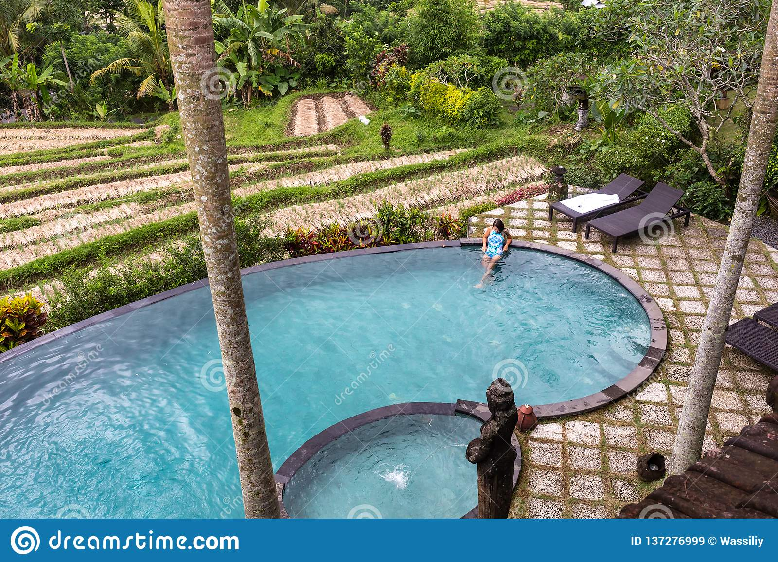 Девушка в пейзажном бассейне к джунглям с palmtrees