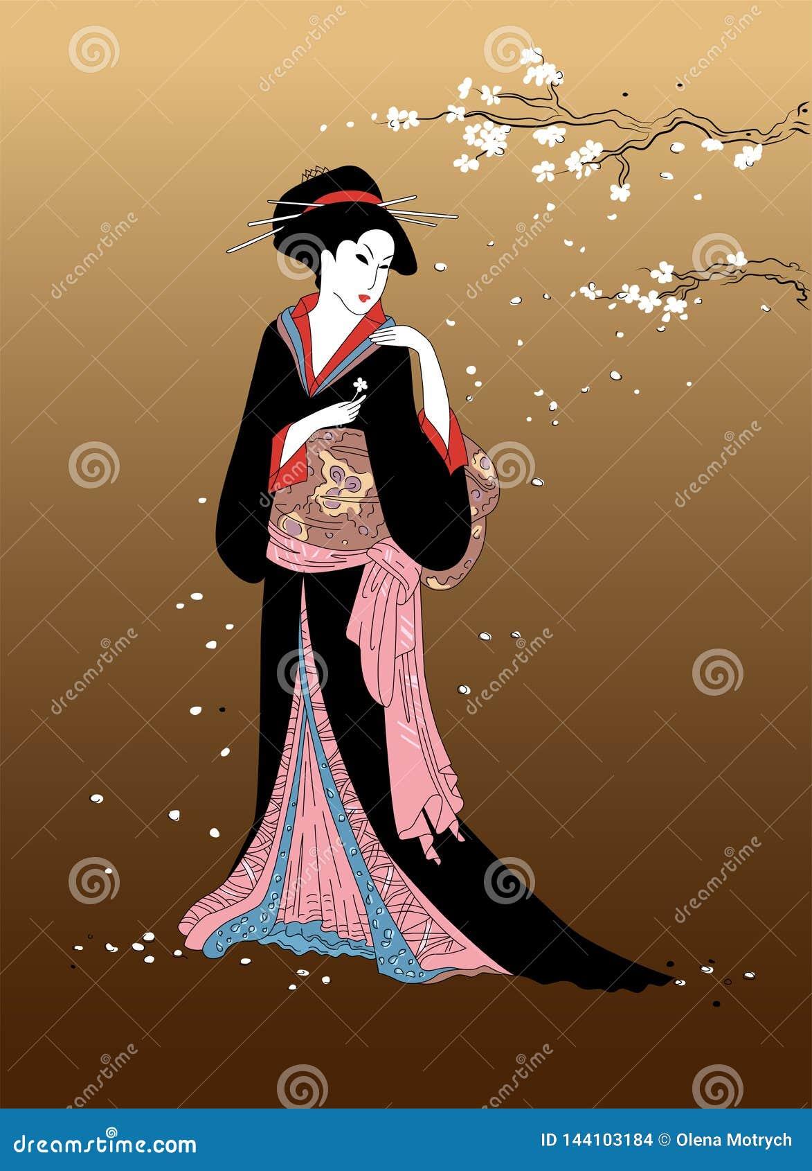 Девушка гейши с ветвью цветения Сакуры на предпосылке Красивые японские женщины в национальном платье Элемент традиционного des а