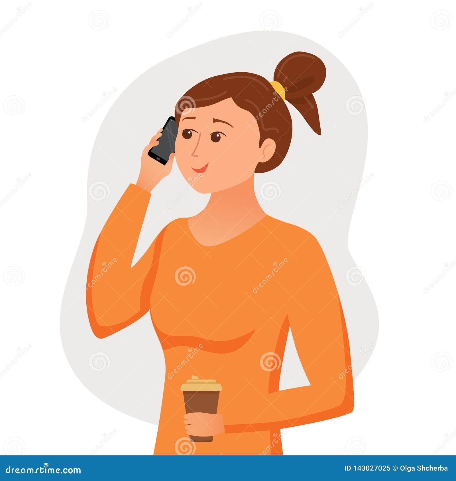 Девушка говоря используя ее смартфон держа в ее руке