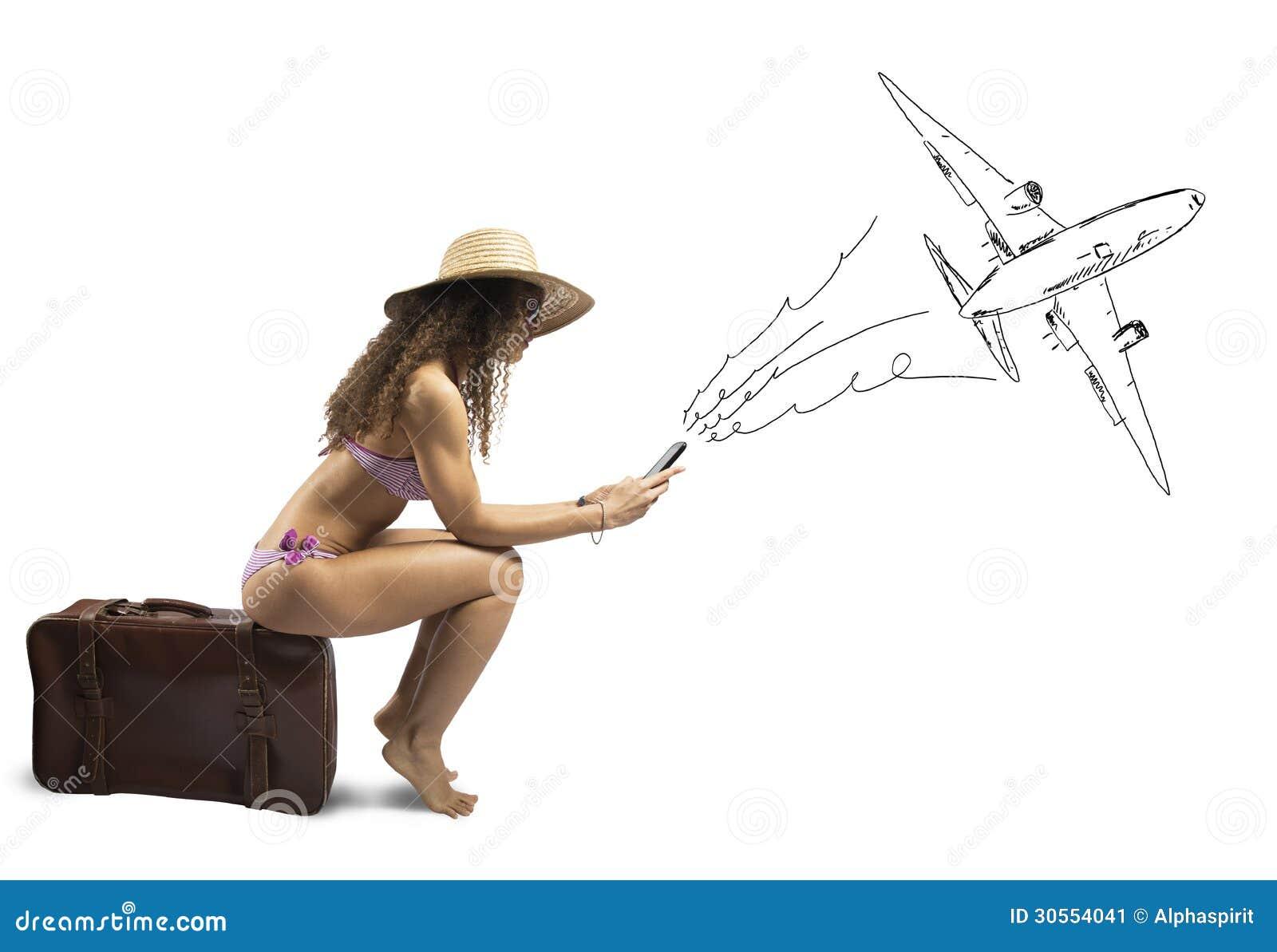 Девушка готовая для того чтобы путешествовать