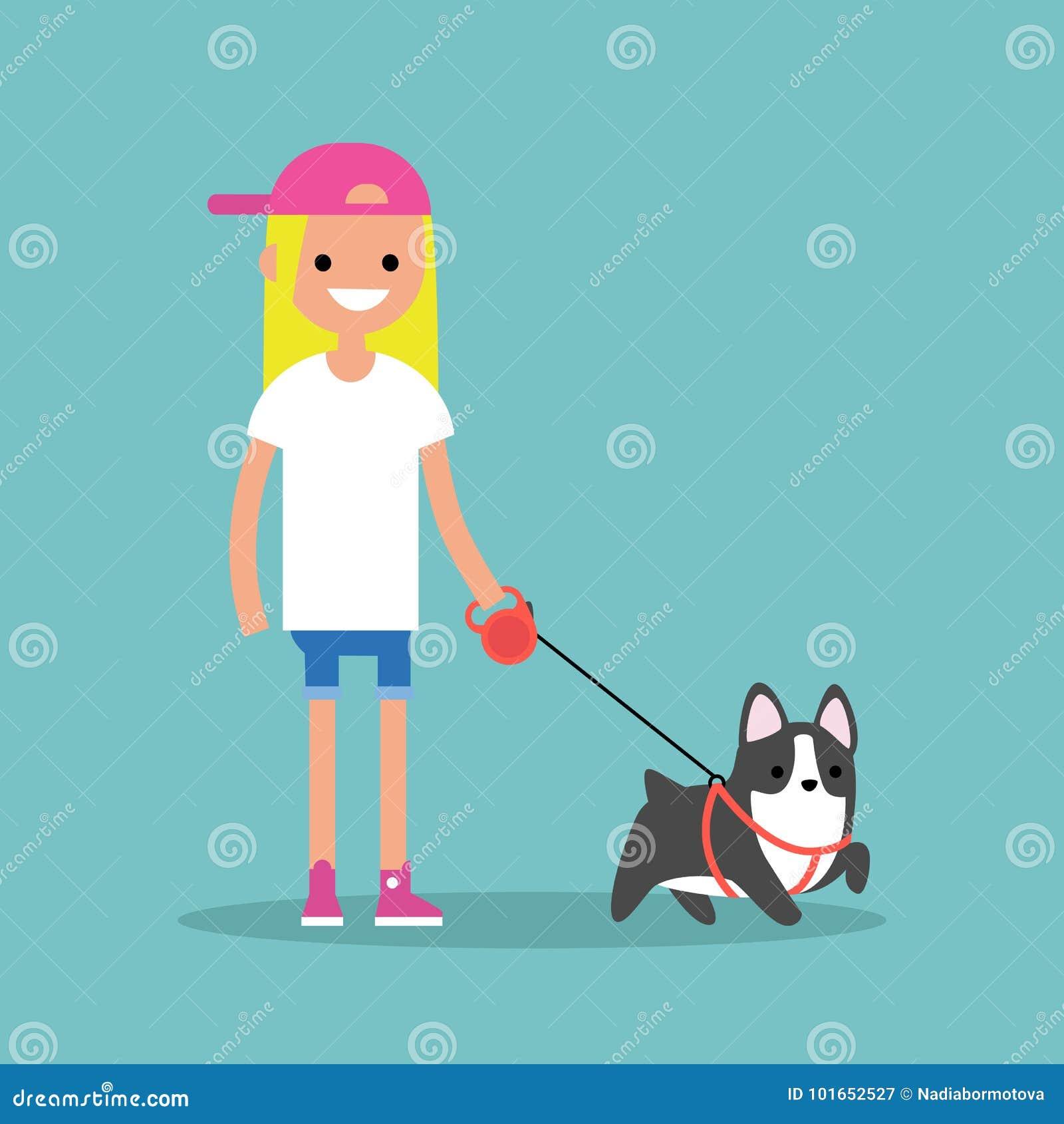 Девушка детенышей усмехаясь белокурая идя собака/плоско editable вектор