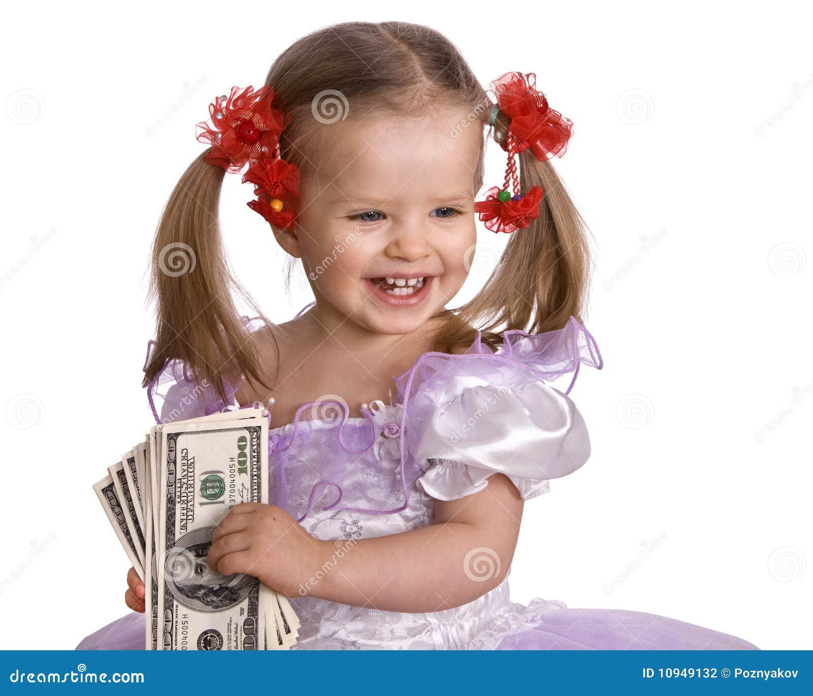 девушка доллара кредитки младенца