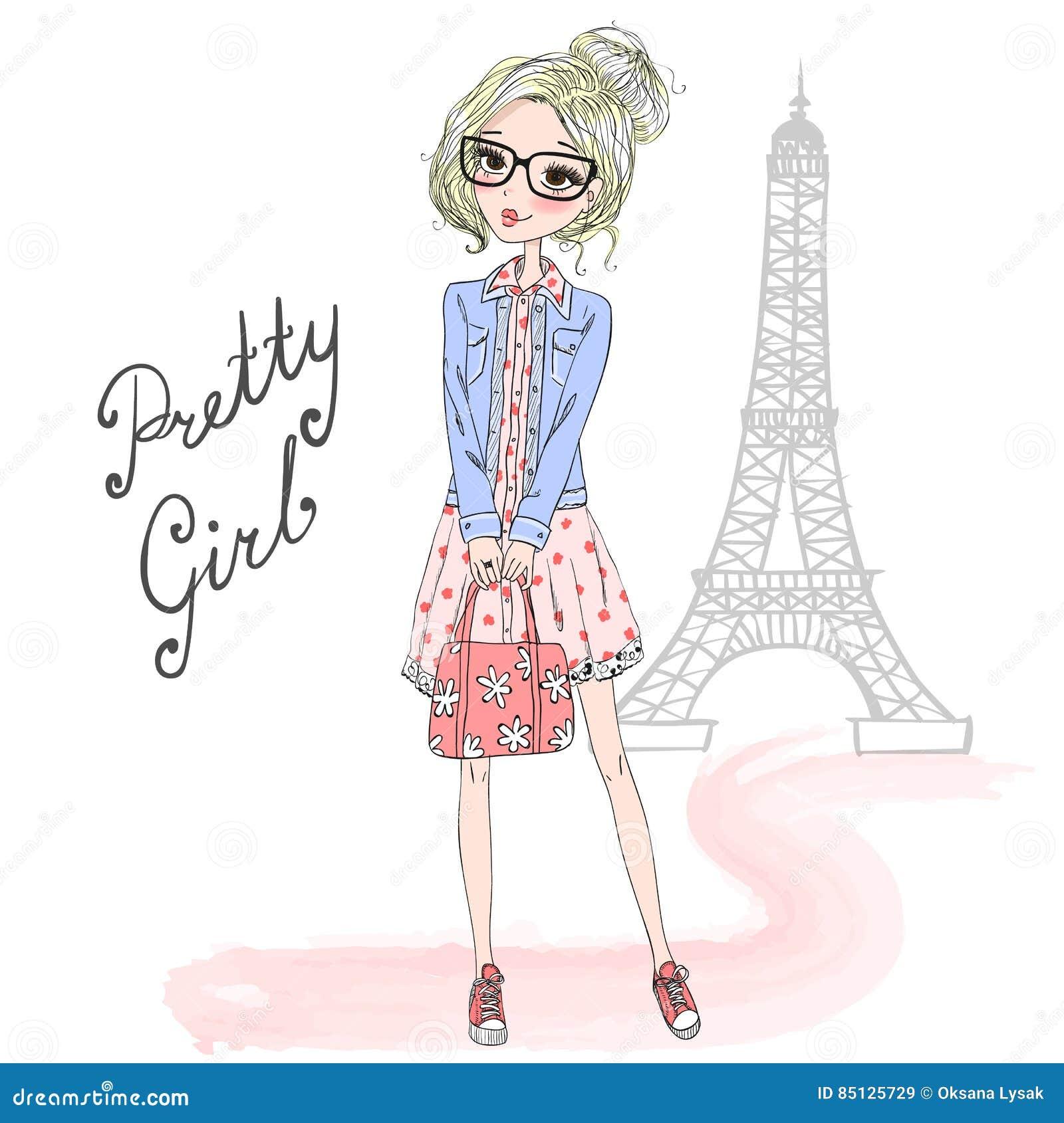 Крутая и модная нарисованная девушка