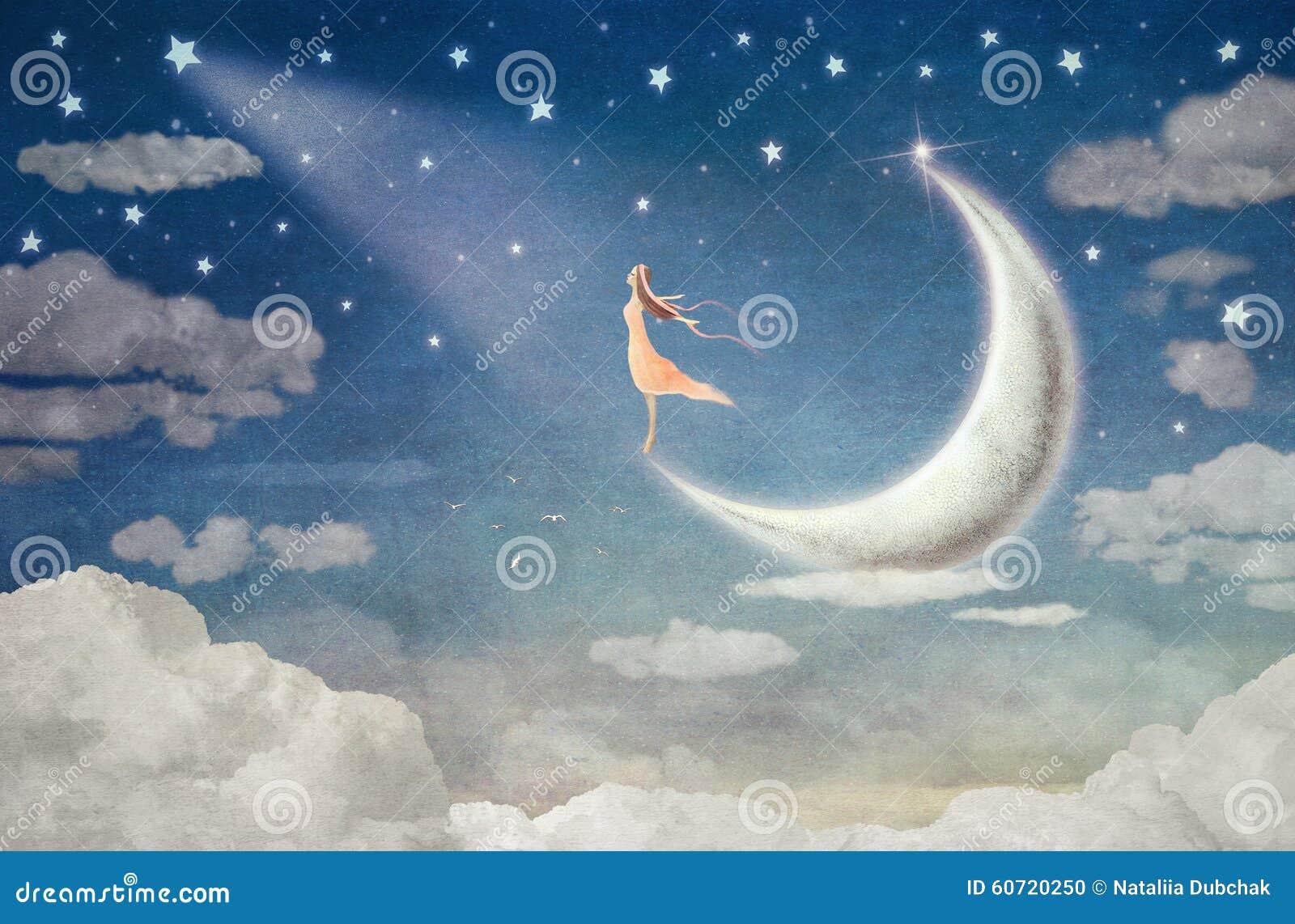 Девушка на луне восхищает ночное небо