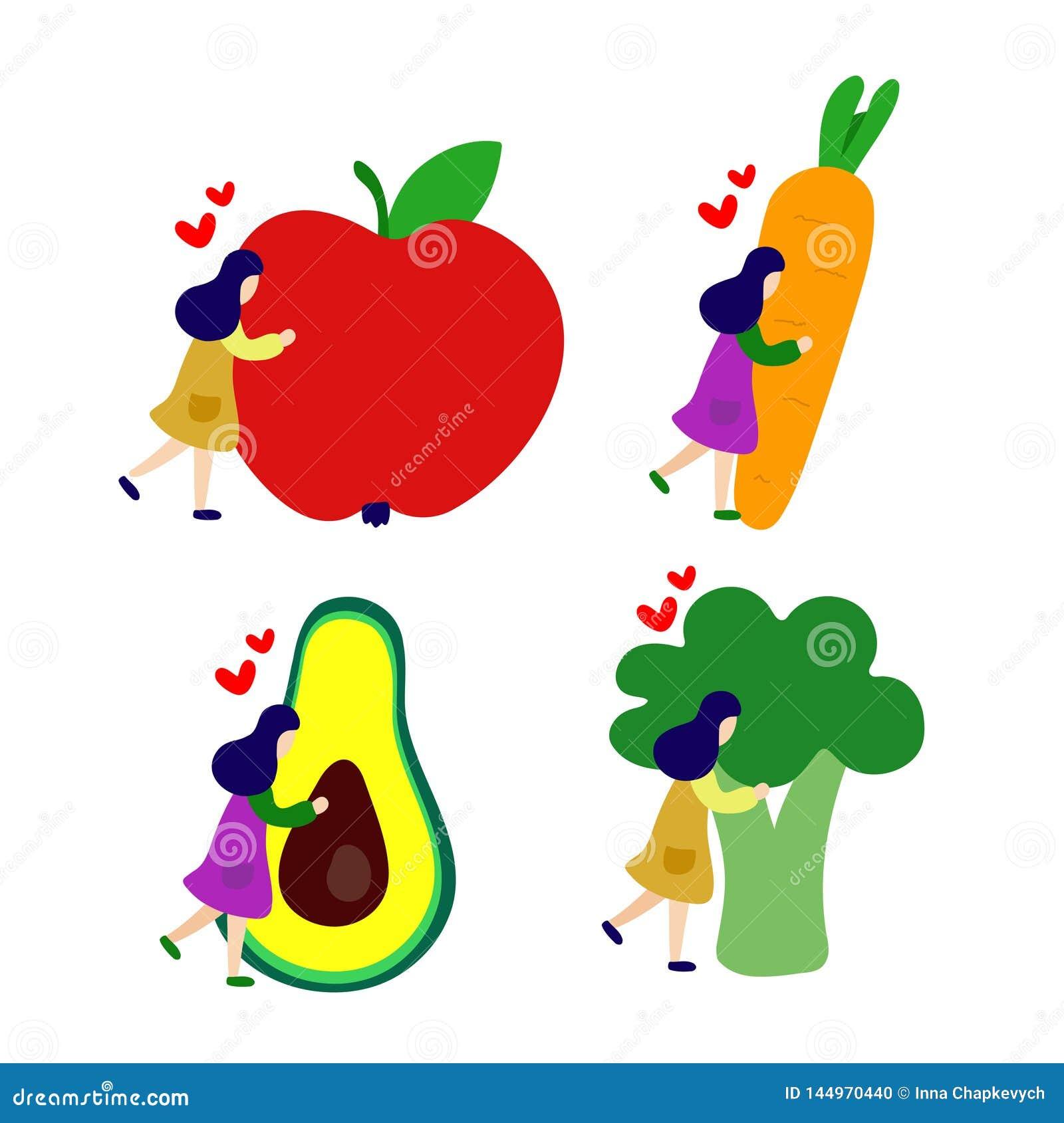 Девушка обнимает большое яблоко, морковь, авокадо, набор брокколи