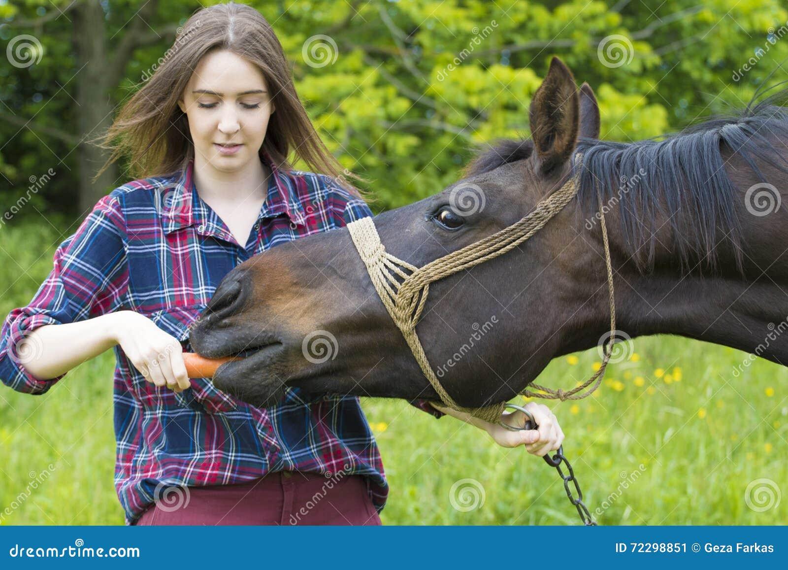 Download Девушка подростка подает ее любимчик лошади Стоковое Изображение - изображение насчитывающей конематка, lifestyle: 72298851