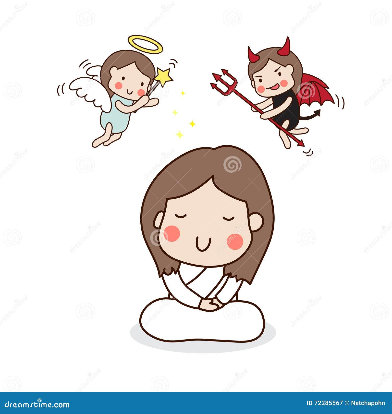 Download Девушка размышляя с ангелом и дьяволом Иллюстрация вектора - иллюстрации насчитывающей meed, бог: 72285567