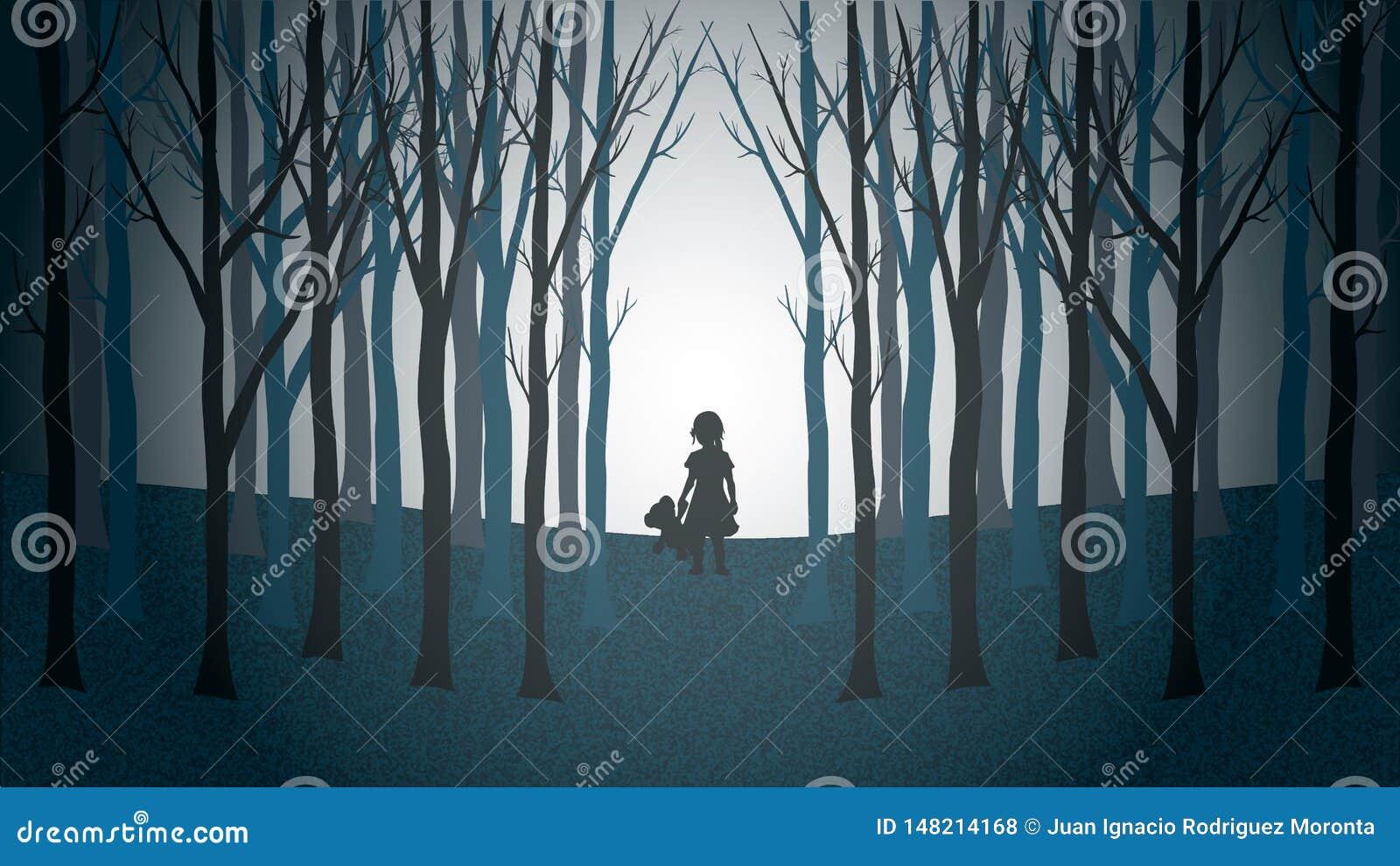 Девушка с ее идти плюшевого мишки потерянный через страшный лес