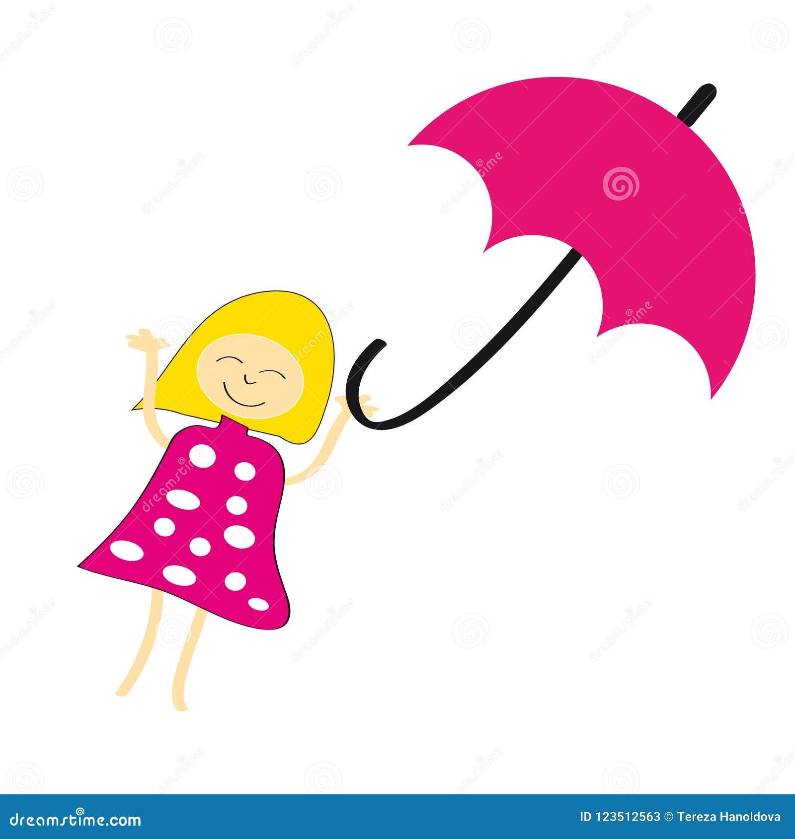 Девушка с зонтиком на белой предпосылке также вектор иллюстрации притяжки corel