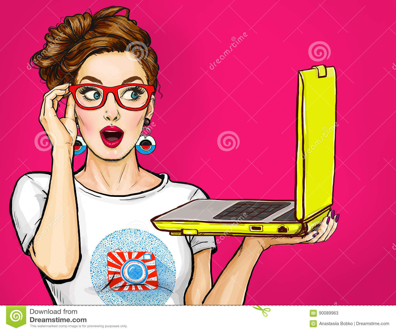 Девушка с компьтер-книжкой в руке в шуточном стиле Женщина с тетрадью Девушка в стеклах Девушка битника Реклама цифров