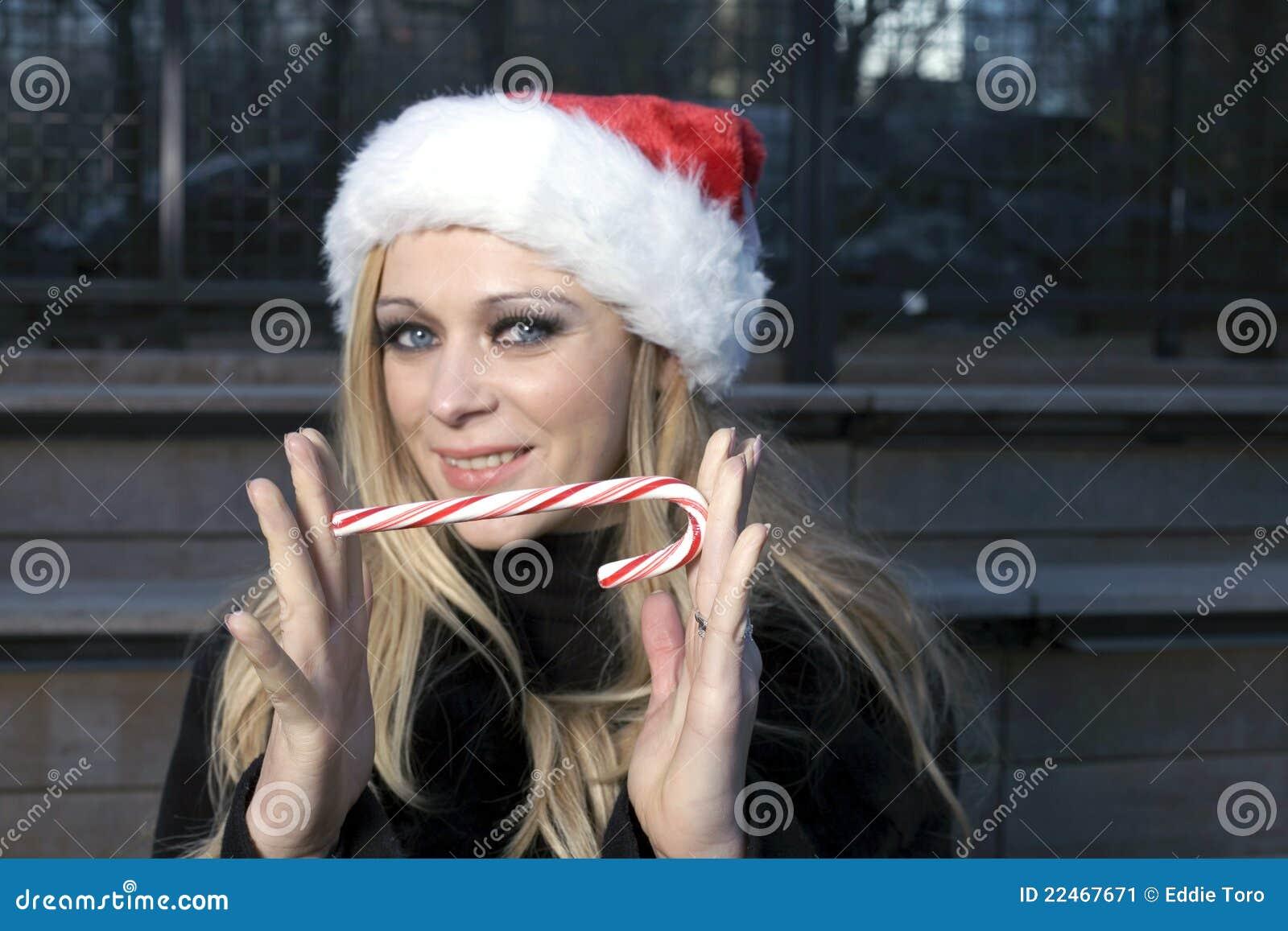 девушка тросточки конфеты