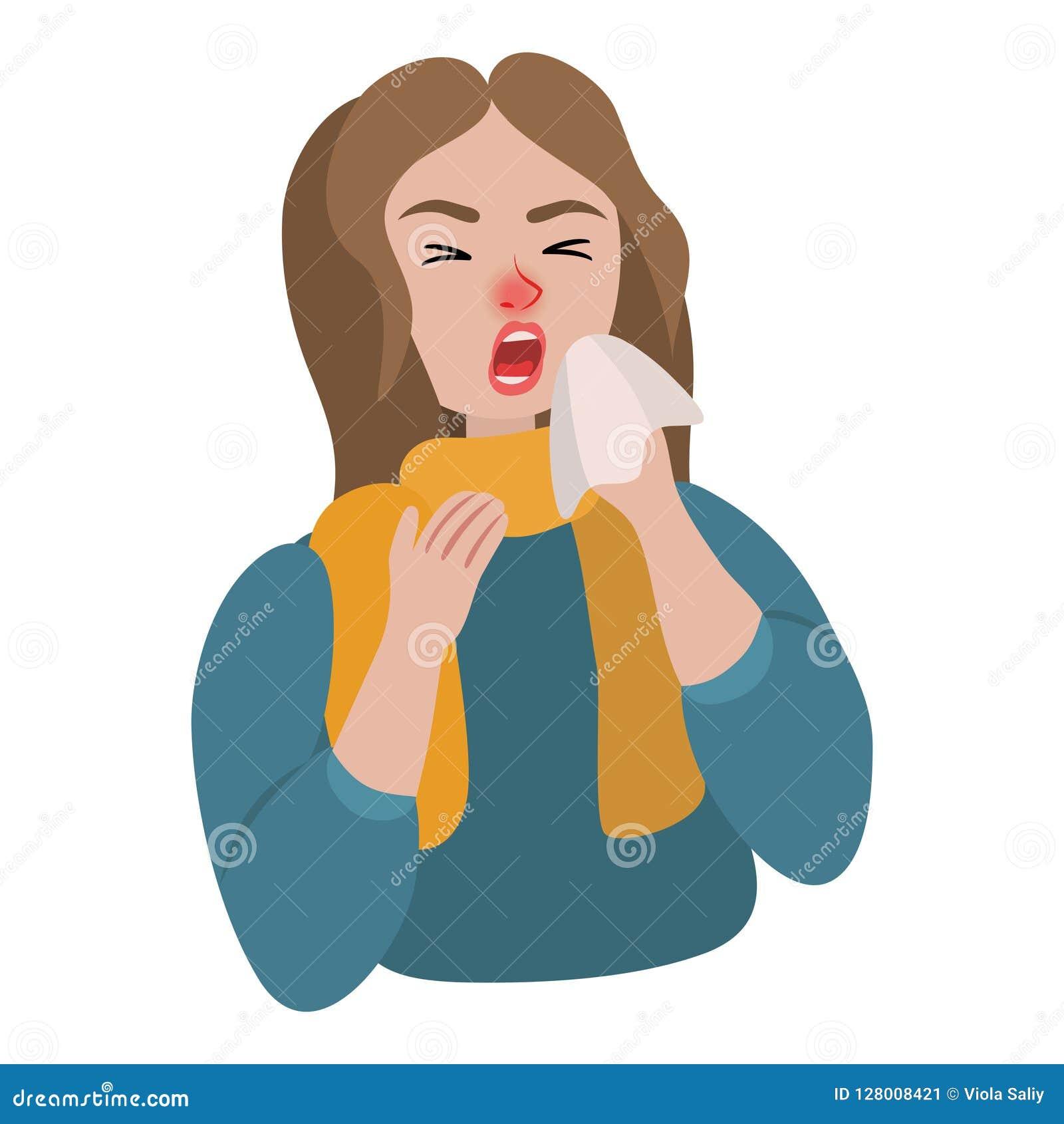Девушка чихает в больного шарфа