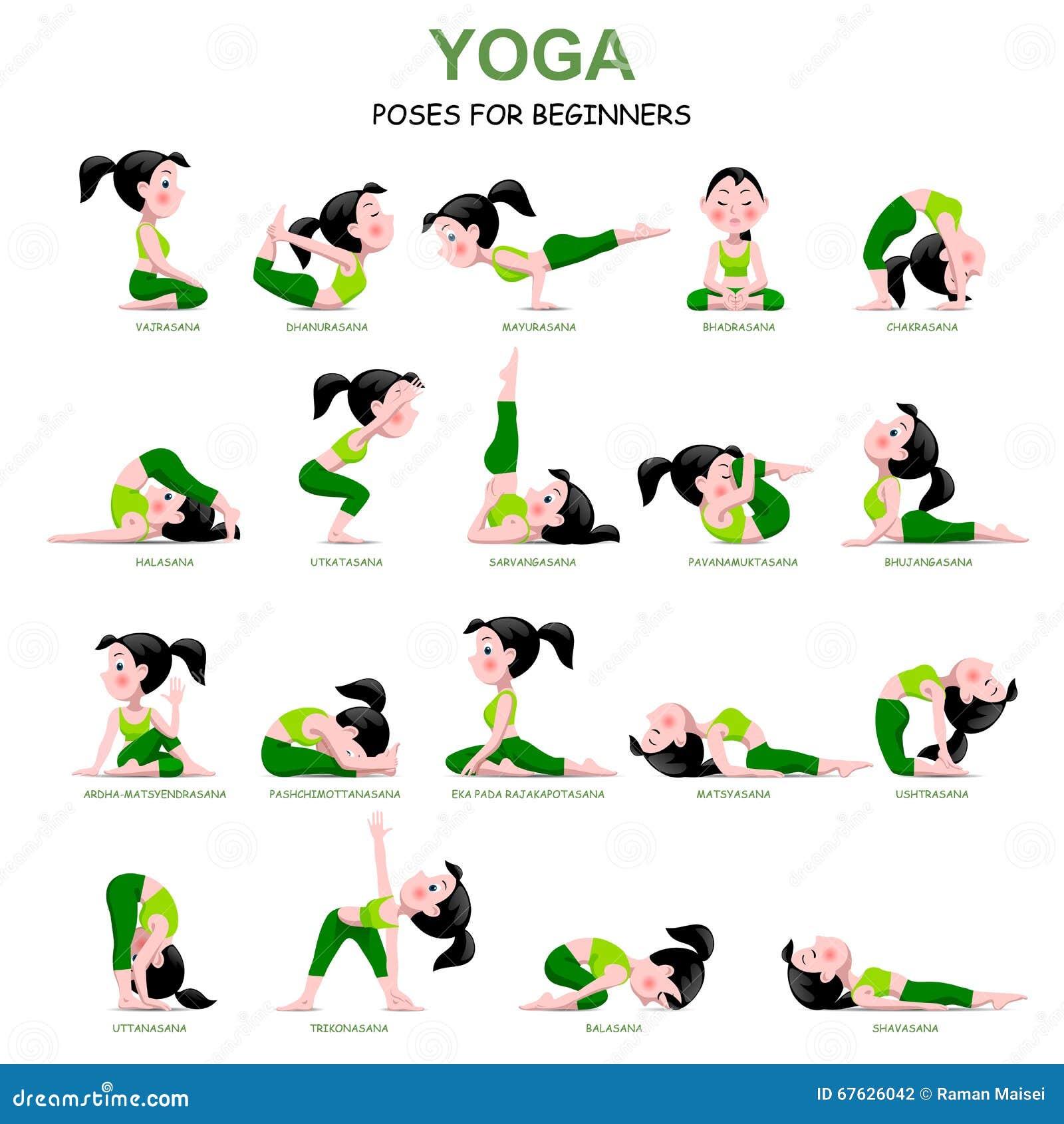 Девушка шаржа в йоге представляет с названиями для beginners изолированных дальше