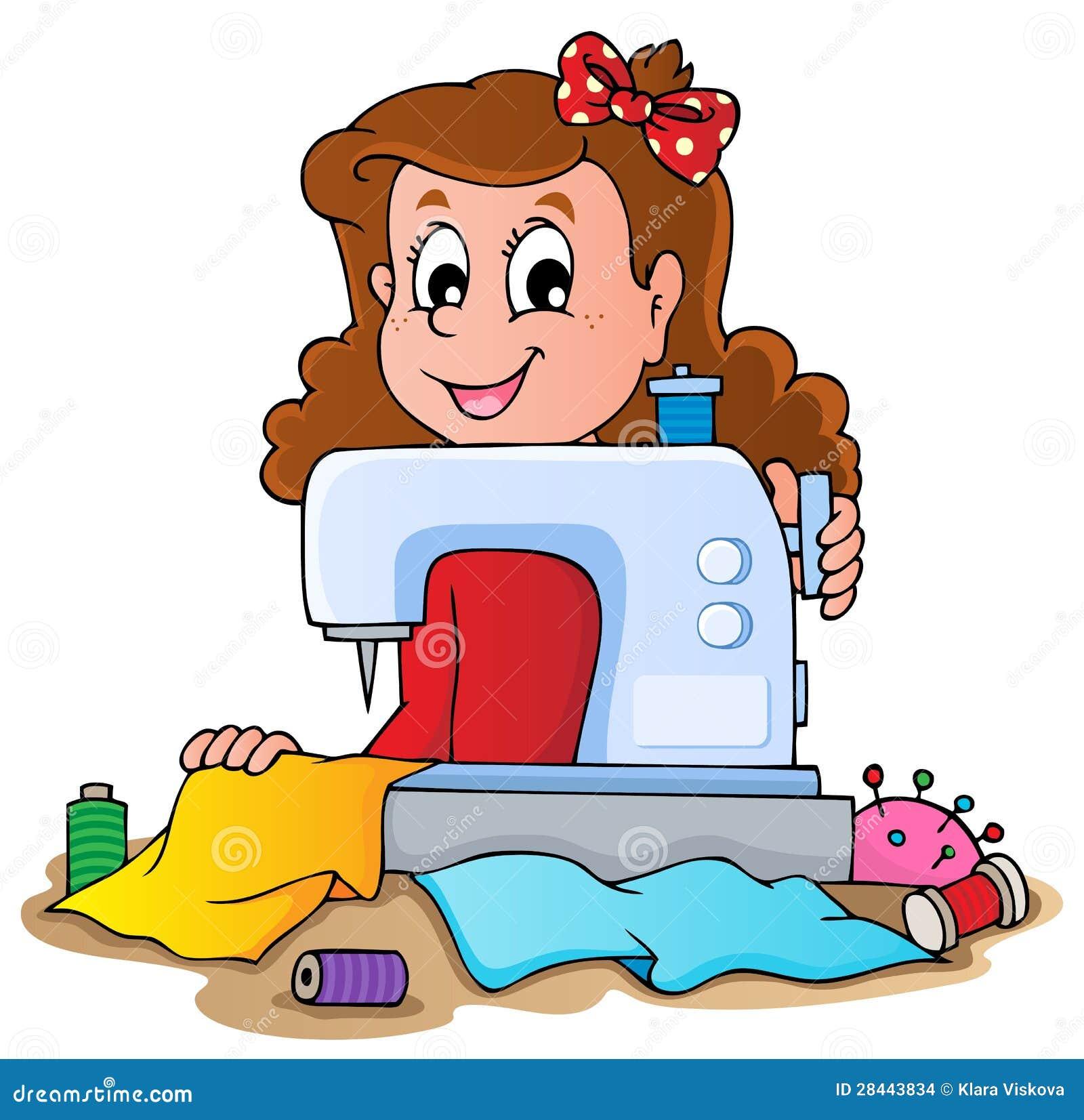 Девушка шаржа с швейной машиной