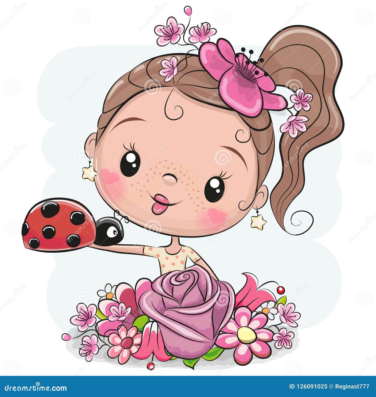 Девушка шаржа с flowerson белая предпосылка