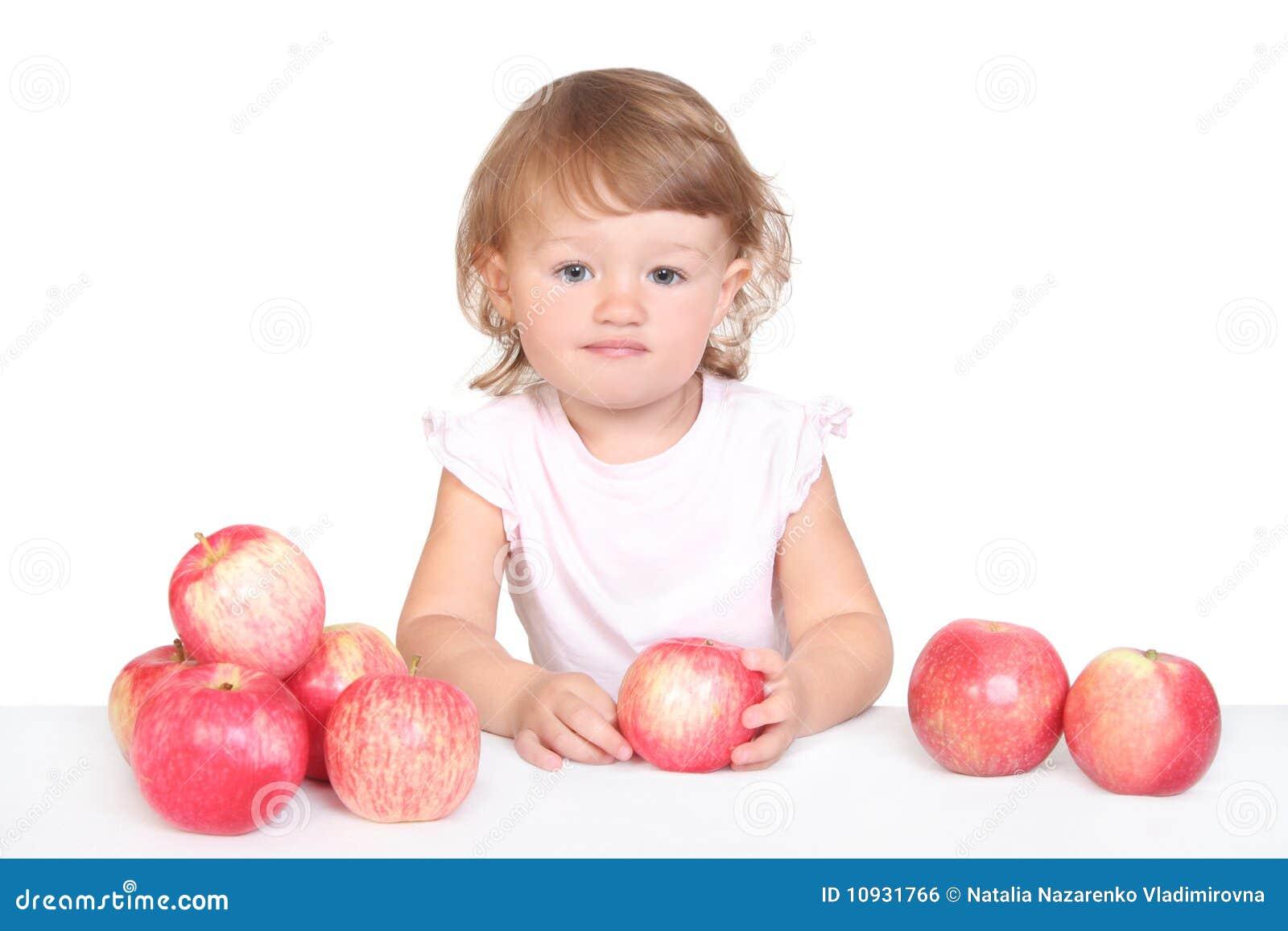 девушка яблока