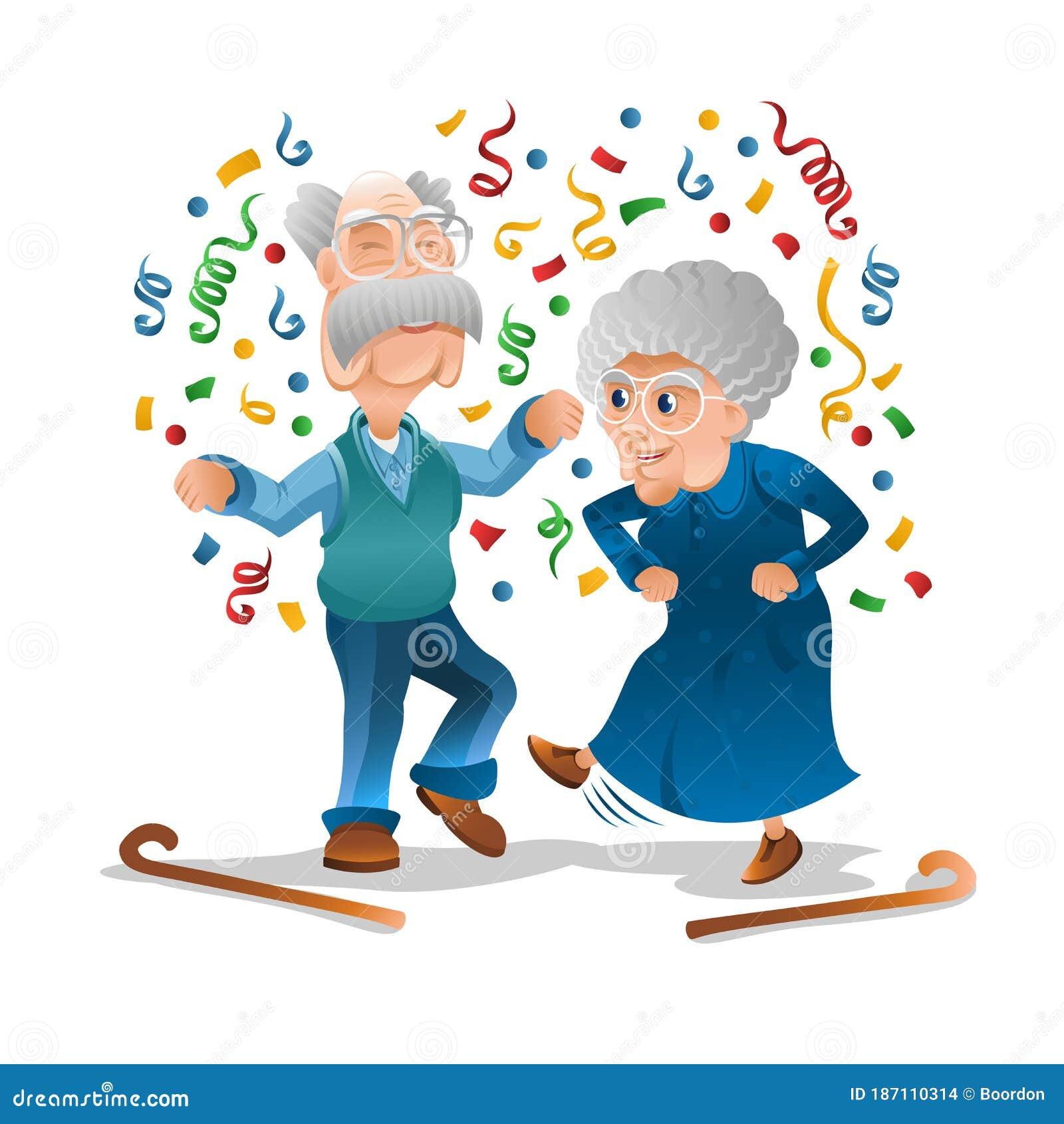 Дедушка и бабушка весело и потанцевать на дискотеке. Бабушка и дедушка  празднует день рождения или другой праздник вместе Иллюстрация вектора -  иллюстрации насчитывающей юбилей, плоско: 187110314