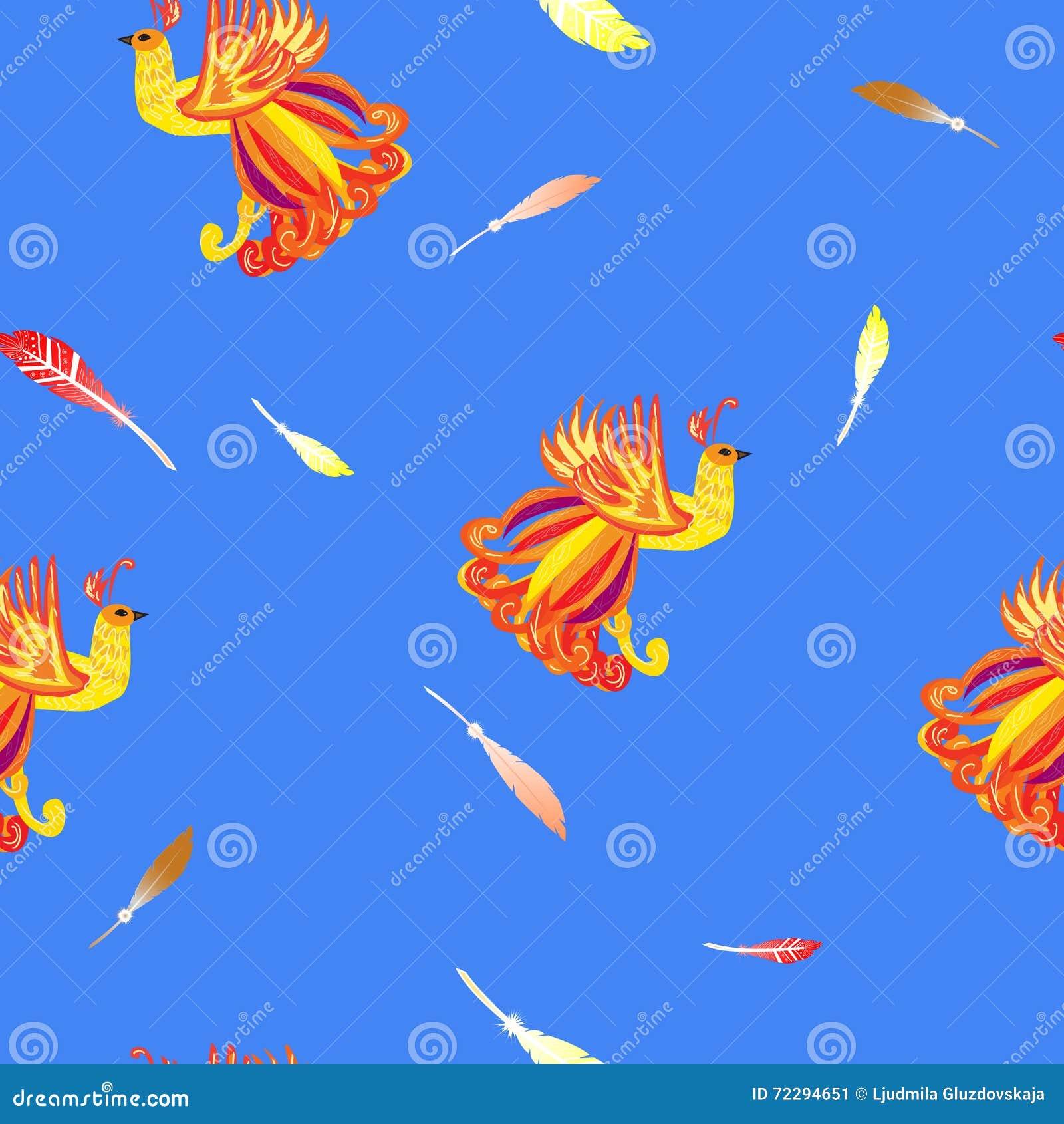 Download Декоративная карточка с Firebird, предпосылка пер безшовная Иллюстрация вектора - иллюстрации насчитывающей былинно, декоративно: 72294651