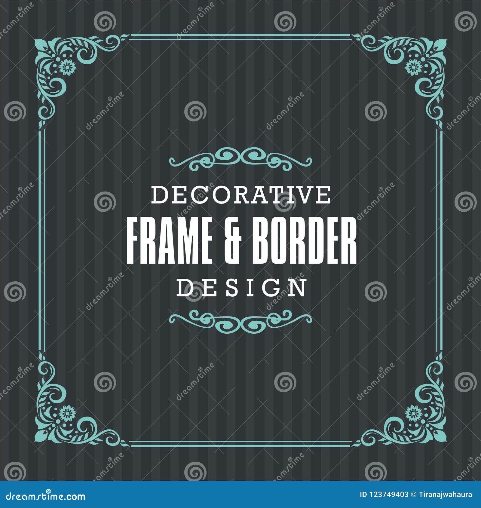 Декоративная рамка, граница с орнаментальной линией стилем
