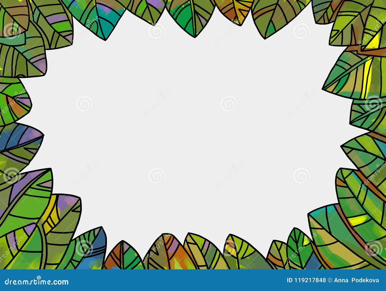 Декоративная рамка листьев для дизайнов весны и осени