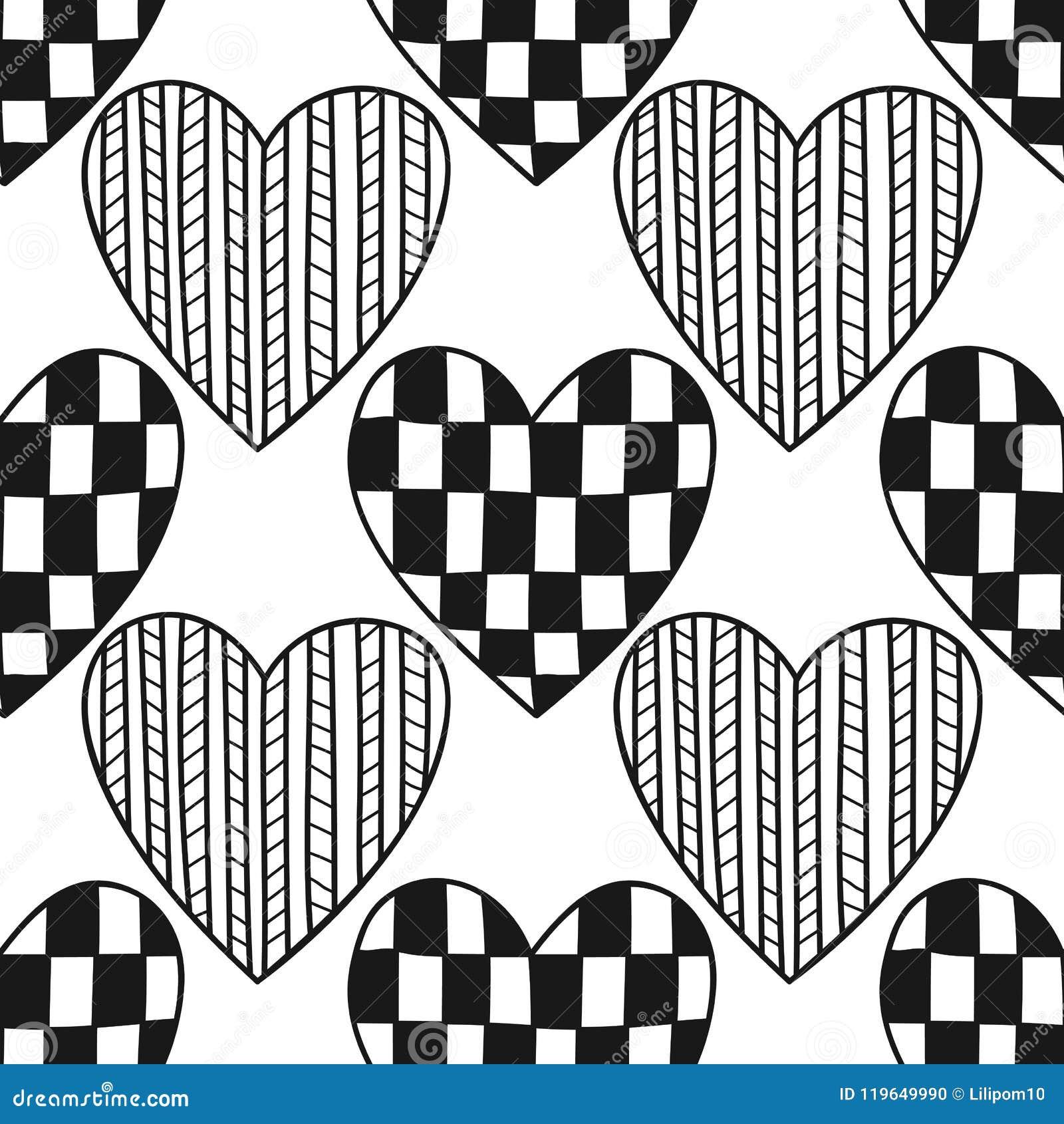 декоративные сердца черно белая иллюстрация для книжка