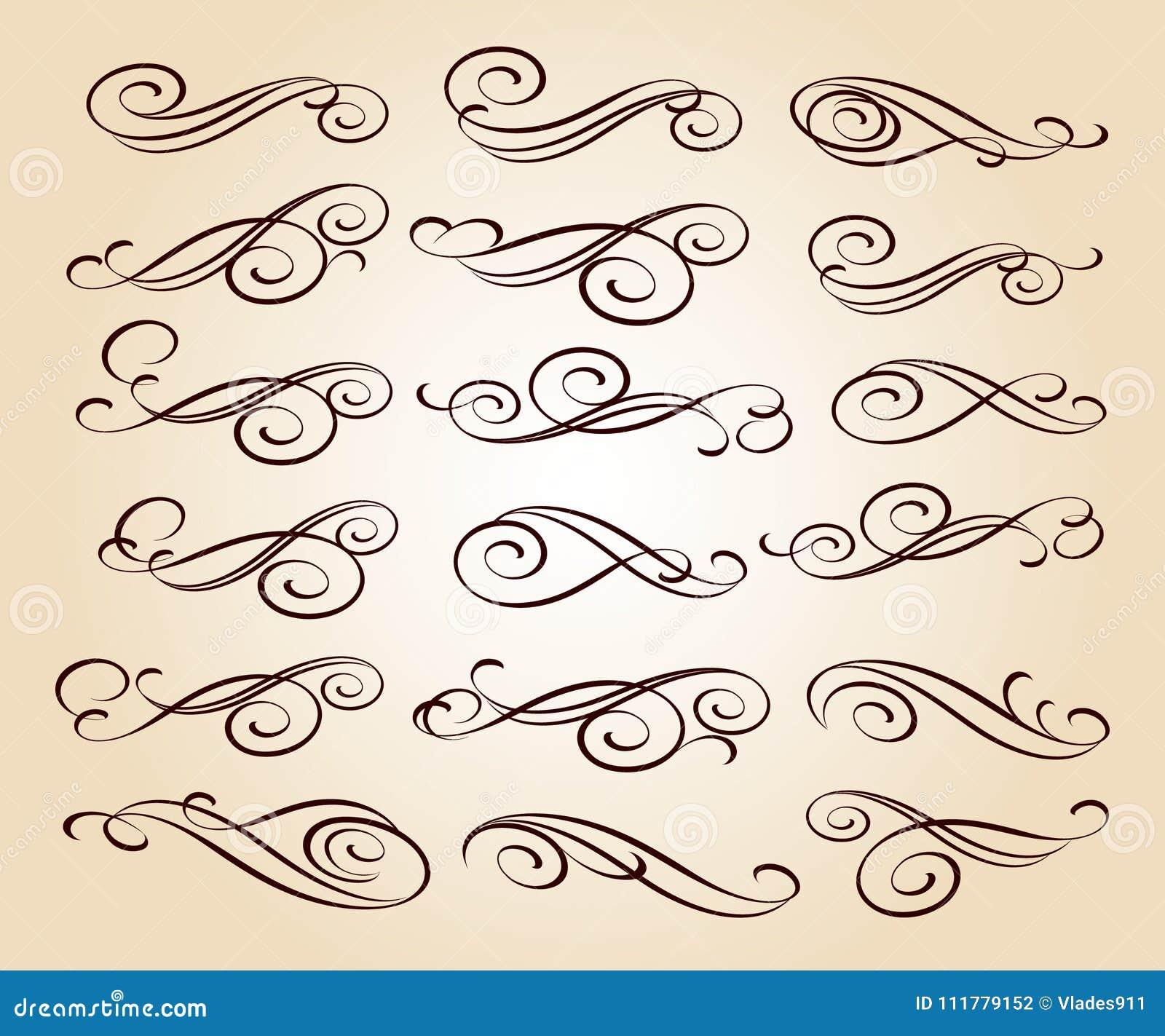 декоративный комплект элементов рассекатели также вектор иллюстрации притяжки corel