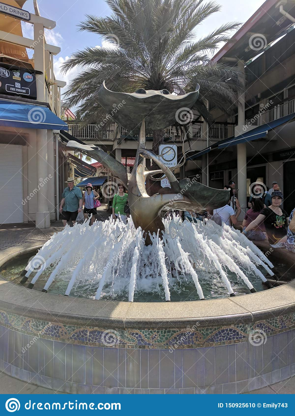 Декоративный фонтан в торговом центре Grand Cayman
