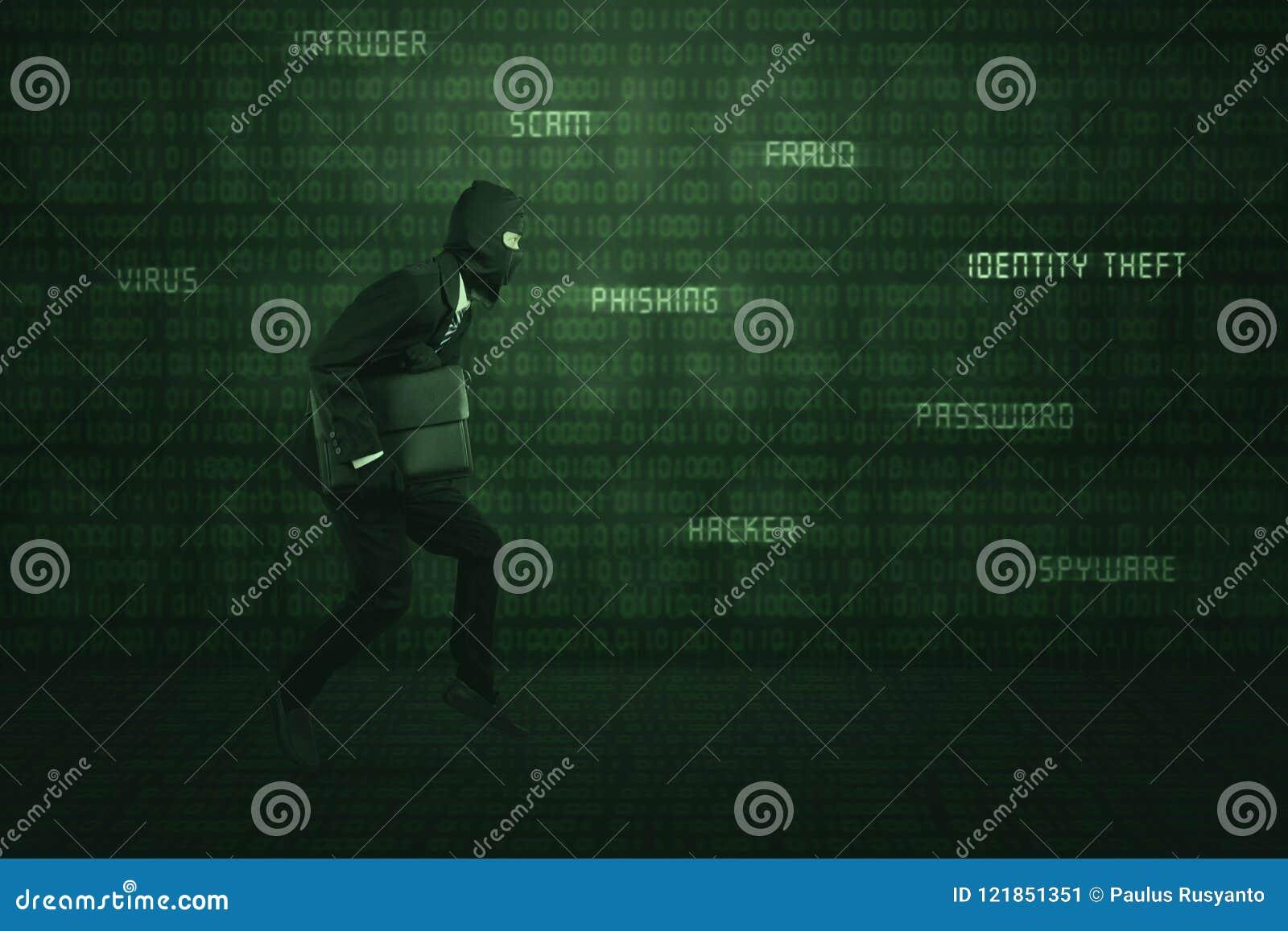 Деловой костюм и маска похитителя нося бежать крадущ компьтер-книжку