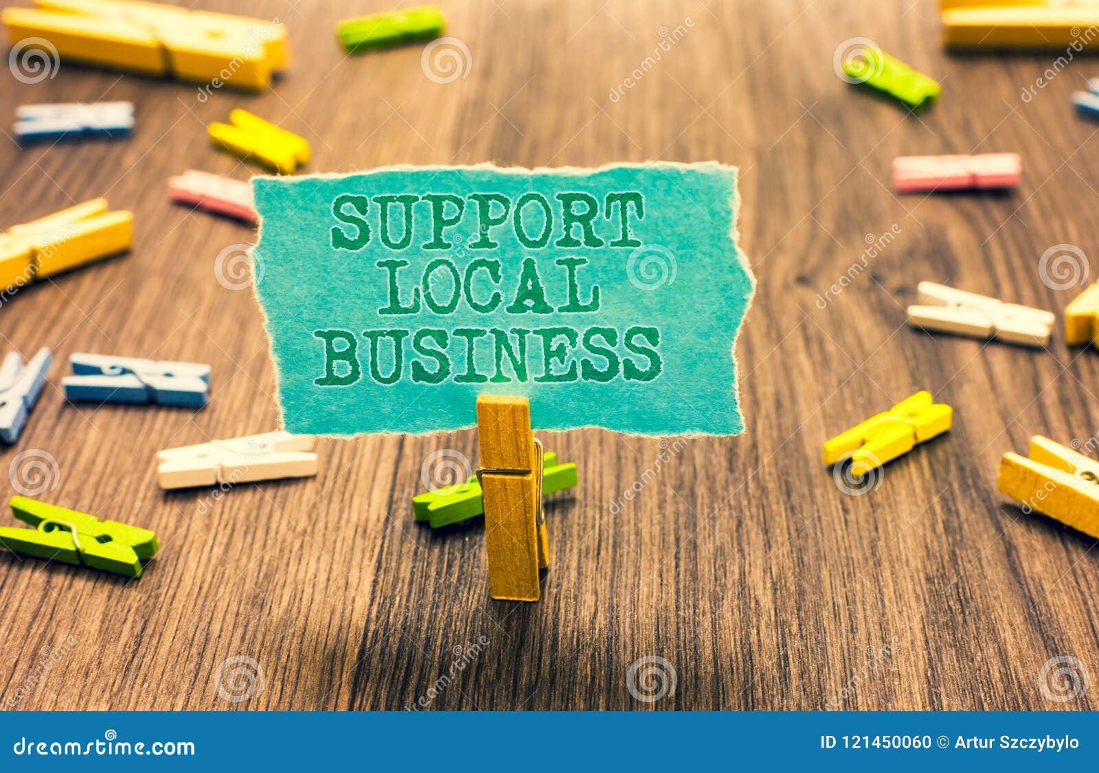 Дело поддержки текста сочинительства слова местное Концепция дела для вклада увеличения в вашей зажимке для белья страны или горо