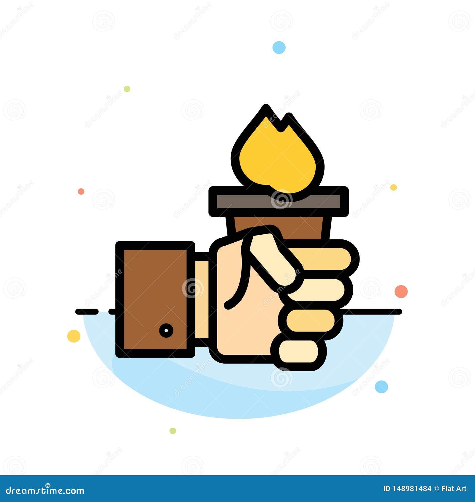 Дело, рука, руководитель, руководство, олимпийский абстрактный плоский шаблон значка цвета