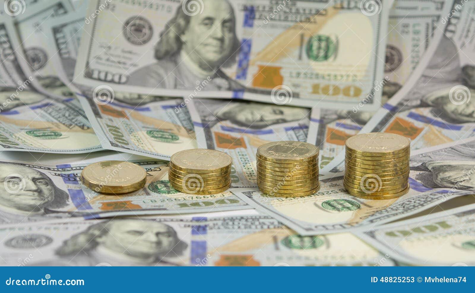 Демонстрация поднимать обменный курс украинского hryvnia валюты (grivna, UAH) для доллара США (USD)