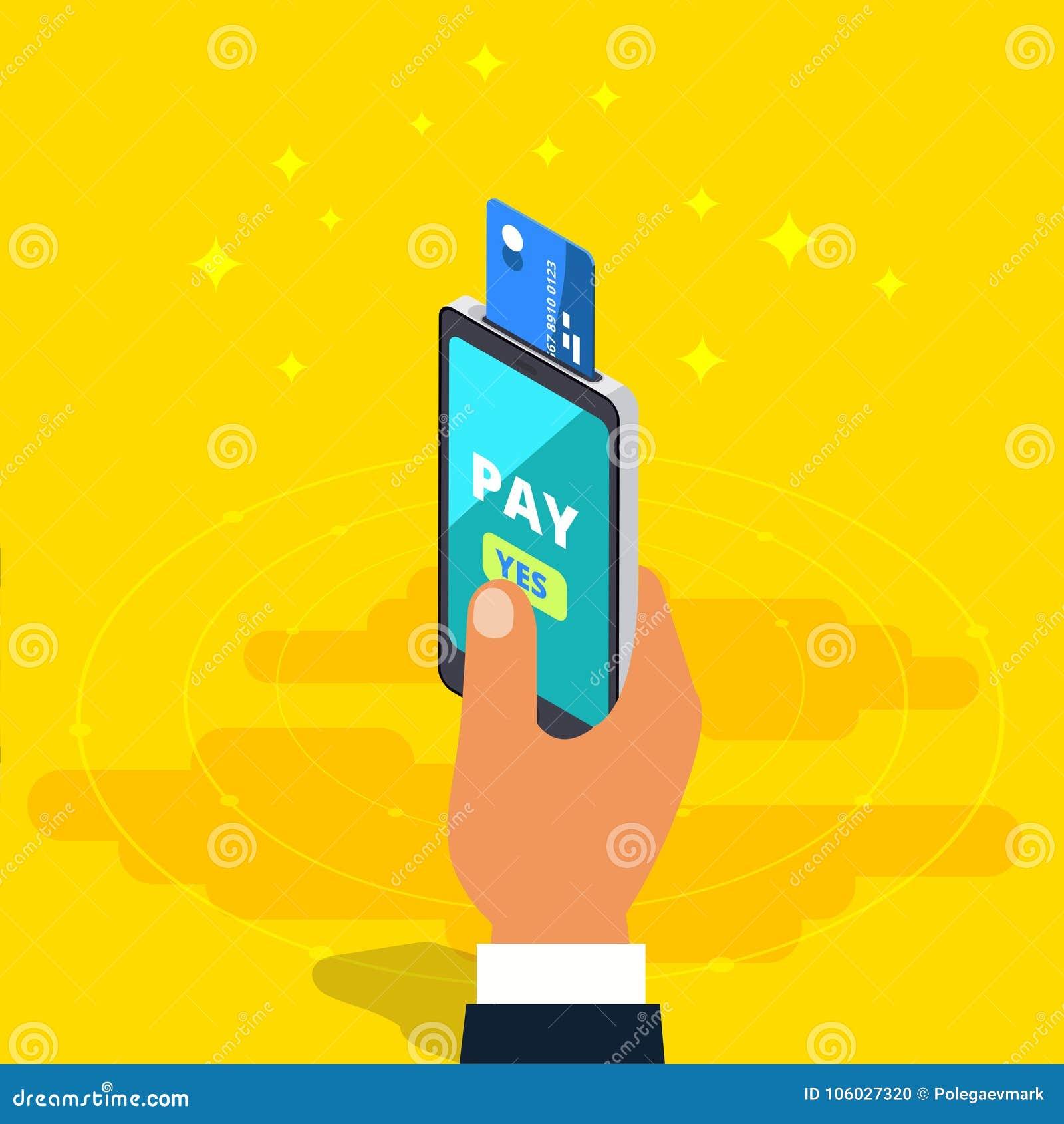 Денежный перевод через мобильный телефон в равновеликом дизайне вектора цифрово