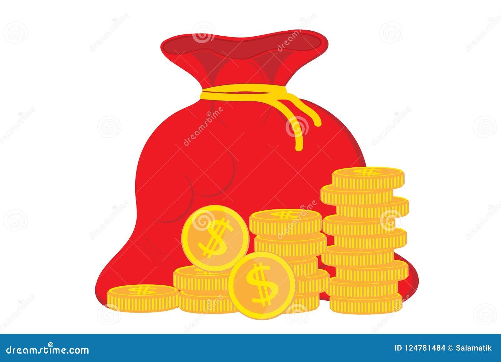 Деньги выгоды Концепция роста успеха в бизнесе, экономических или рынка Сумка денег, доход, запас Мешок значка плоско простой Век