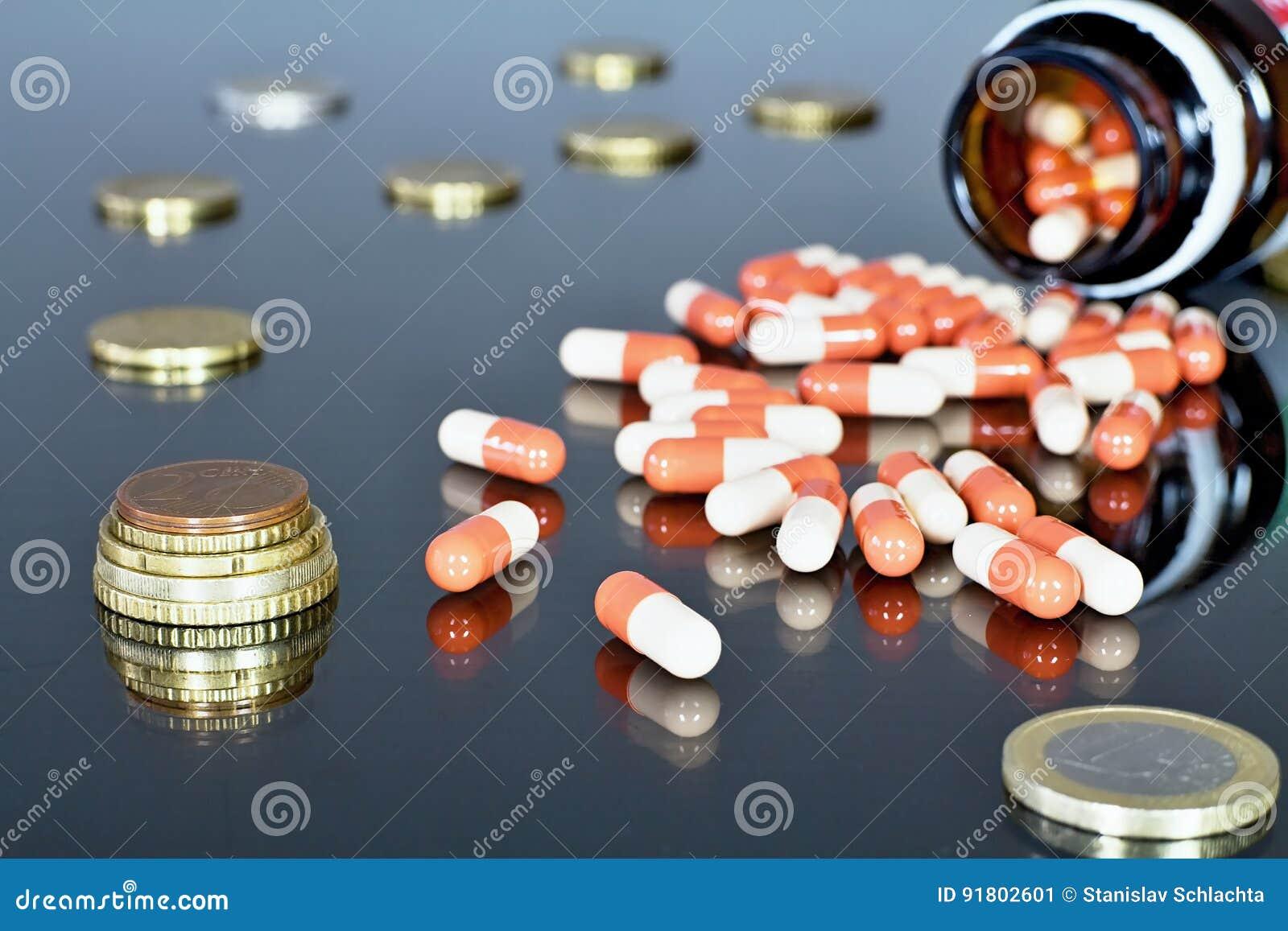 Деньги евро с medicaments Отражать eurocoins и пилюльки