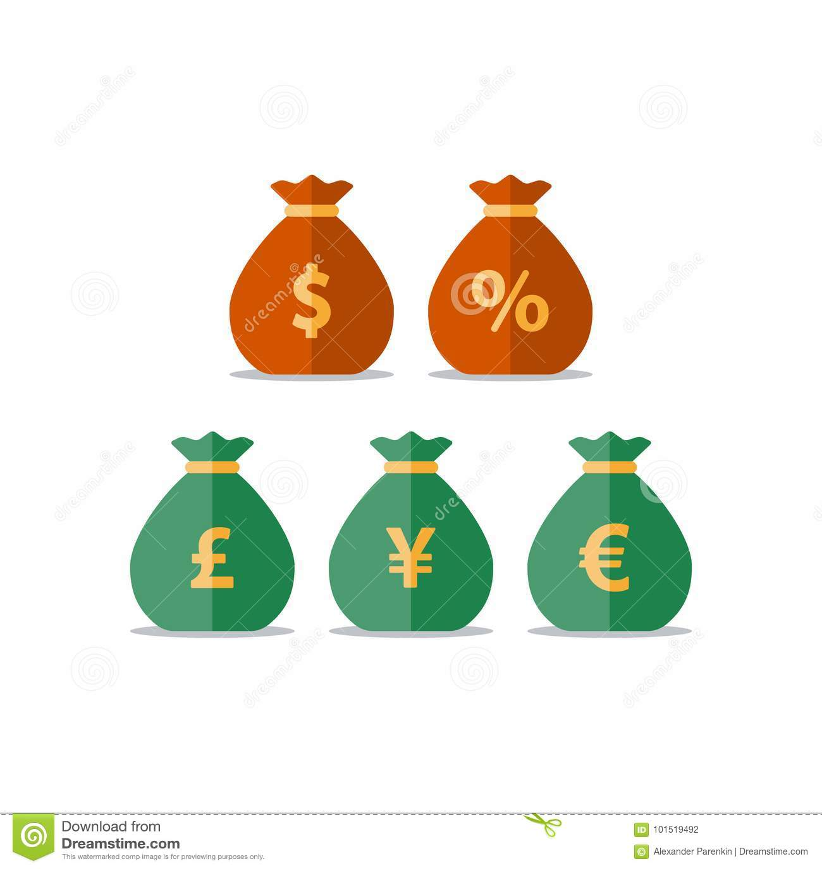 Деньги кладут в мешки, знак евро иен фунта доллара, валютная биржа, сбережения и инвестирования, финансовое решение
