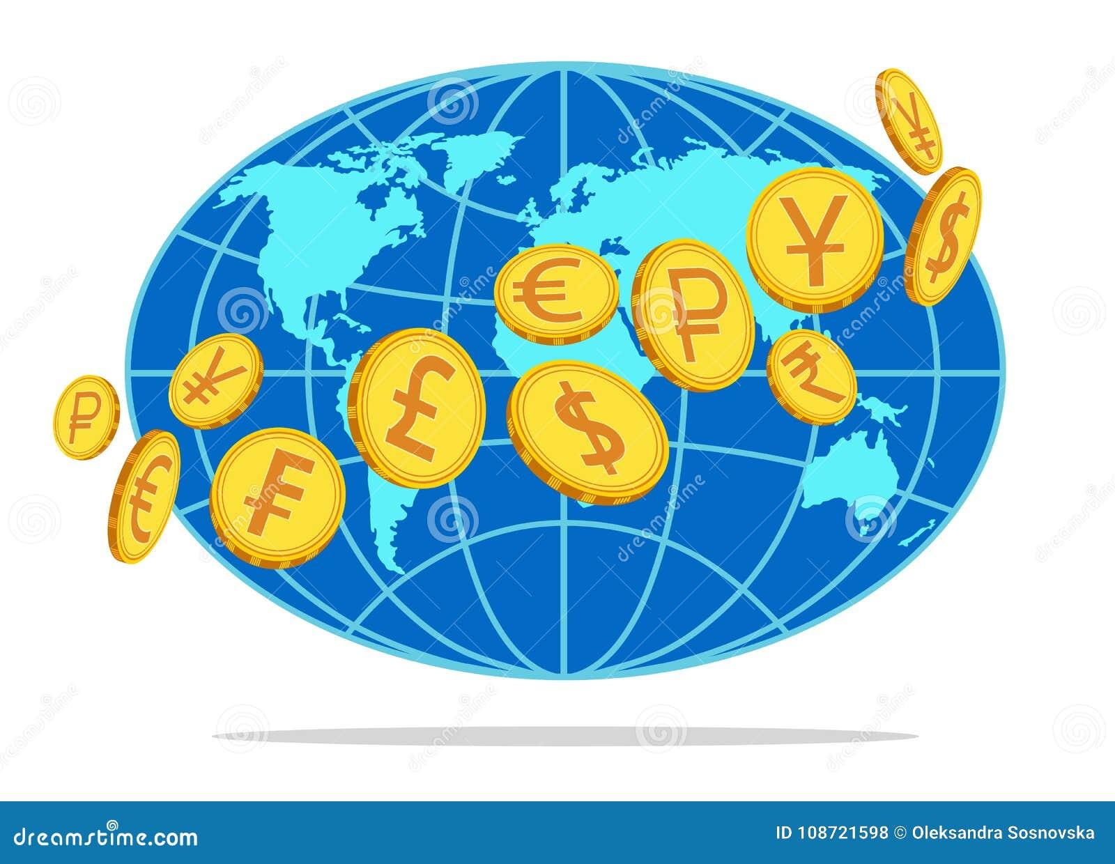 Деньги, монетки вращаясь по всему миру также вектор иллюстрации притяжки corel