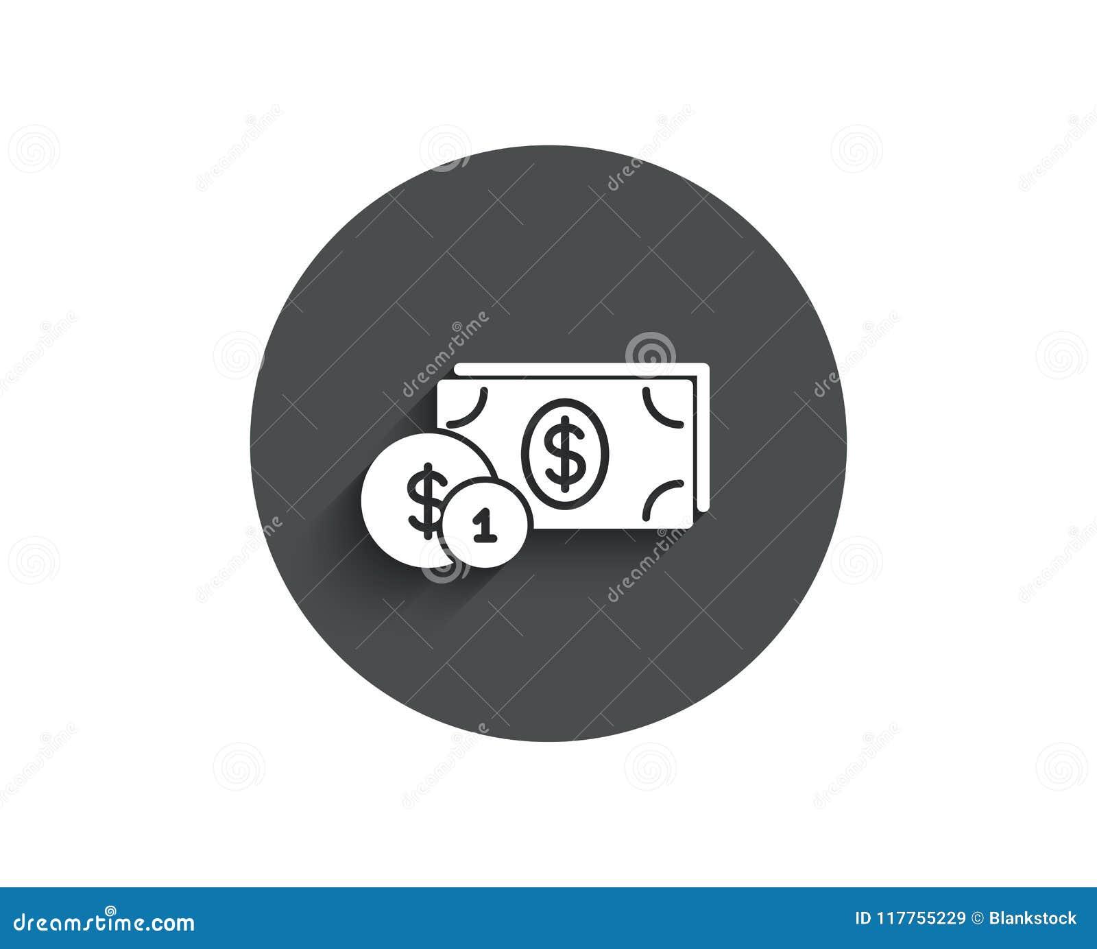 Деньги наличных денег с значком монеток простым banister