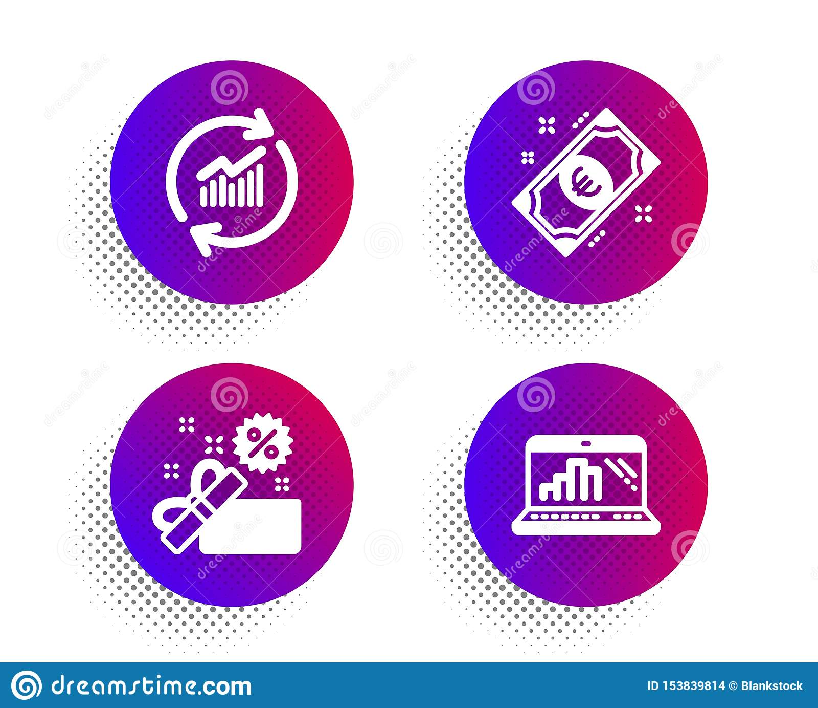 Деньги продажи, евро и данные по обновления набор значков Знак ноутбука диаграммы Подарочная коробка, наличные деньги, статистика