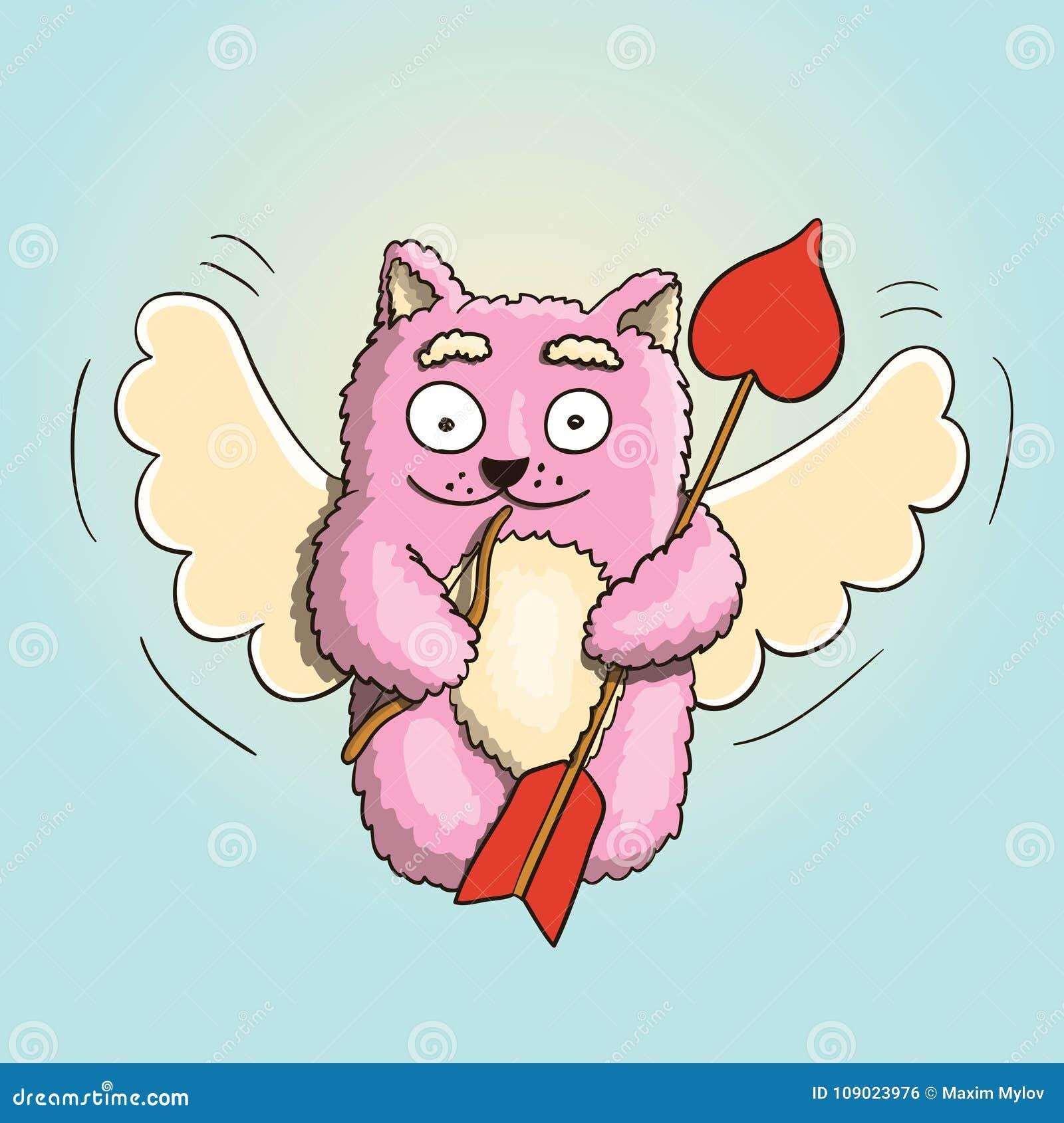 День валентинок, кот пинка купидона валентинок с меньшим смычком и большая стрелка готовая для сердца ` s любовника