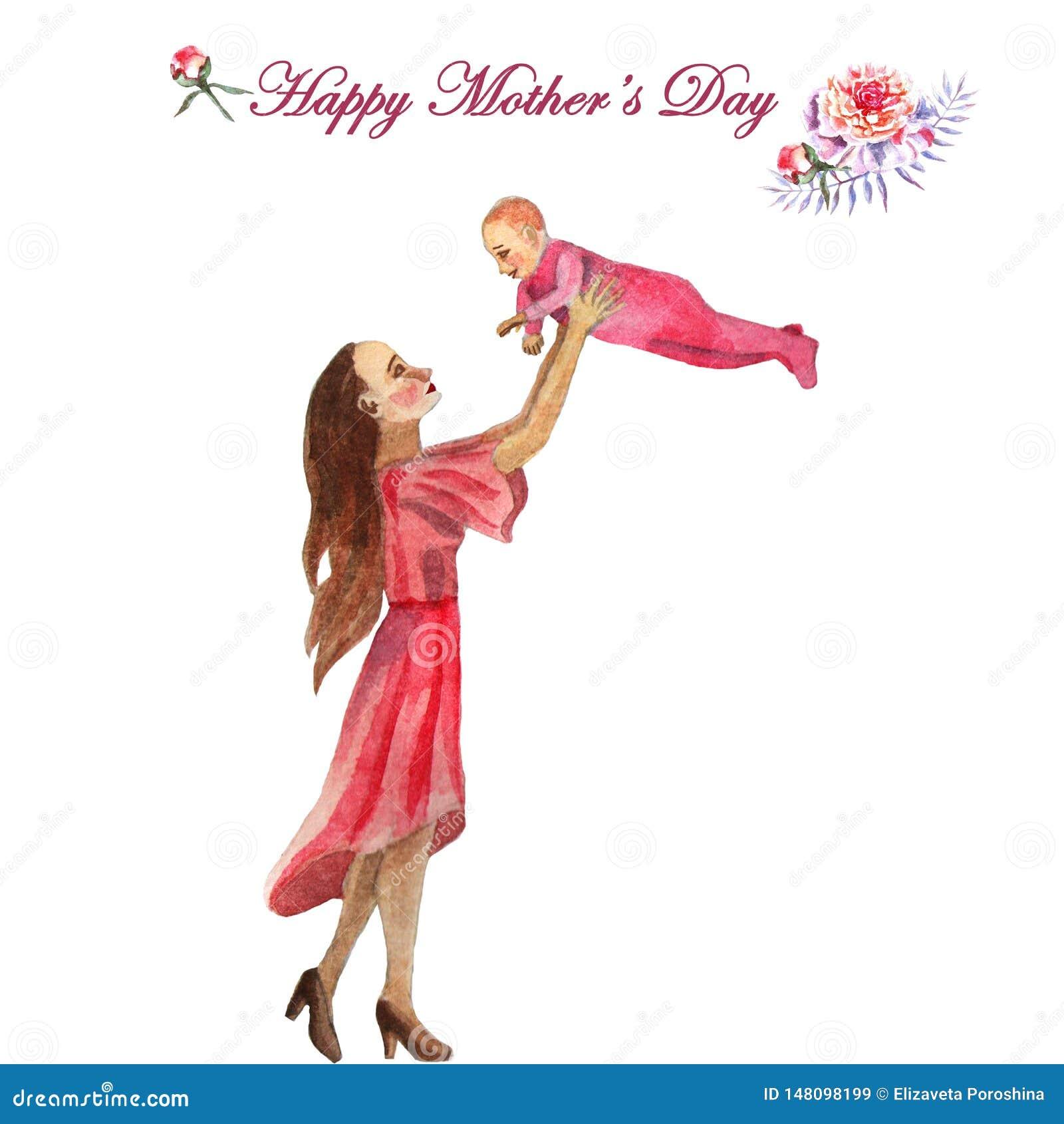 День матери поздравительной открытки акварели покрашенный вручную счастливый