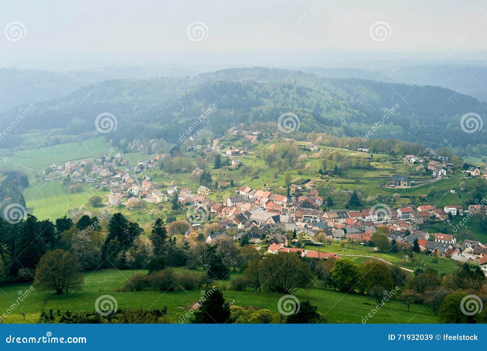 Деревня Wangenbourg-Engenthal эльзасская воздушная
