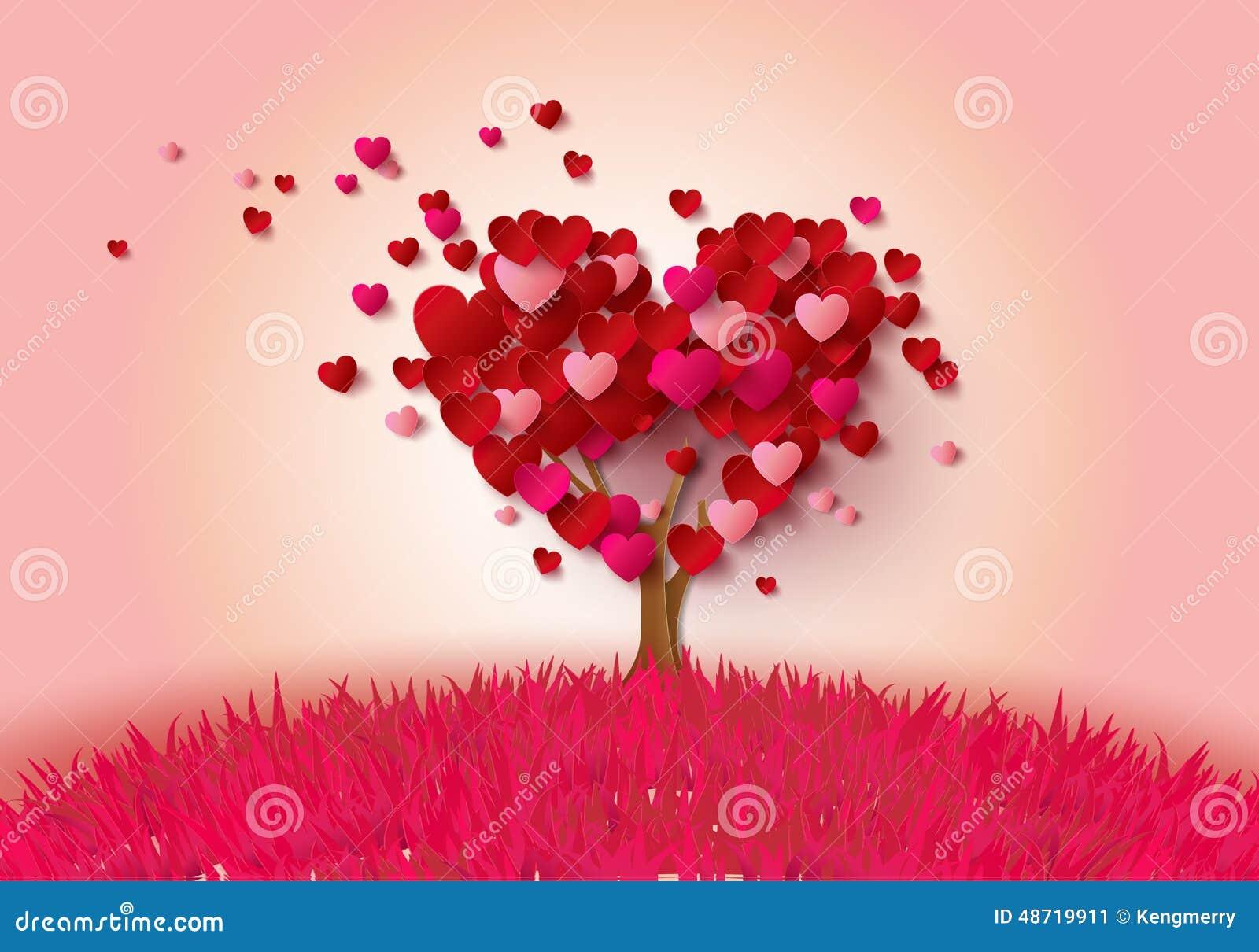 Дерево влюбленности с листьями сердца
