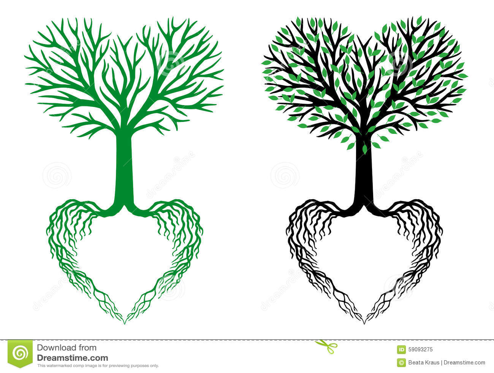 Дерево жизни, дерево сердца, вектор
